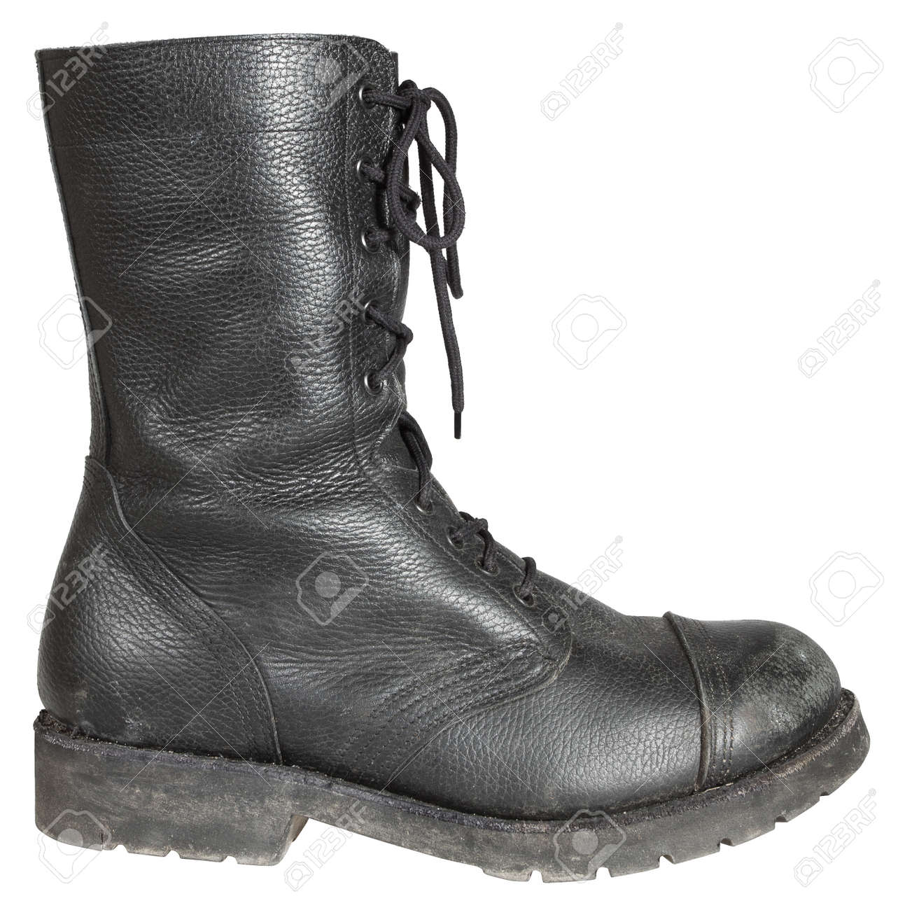 huge selection of b9075 43cfa Military Boot, Army Shoes isolated on white background, used..