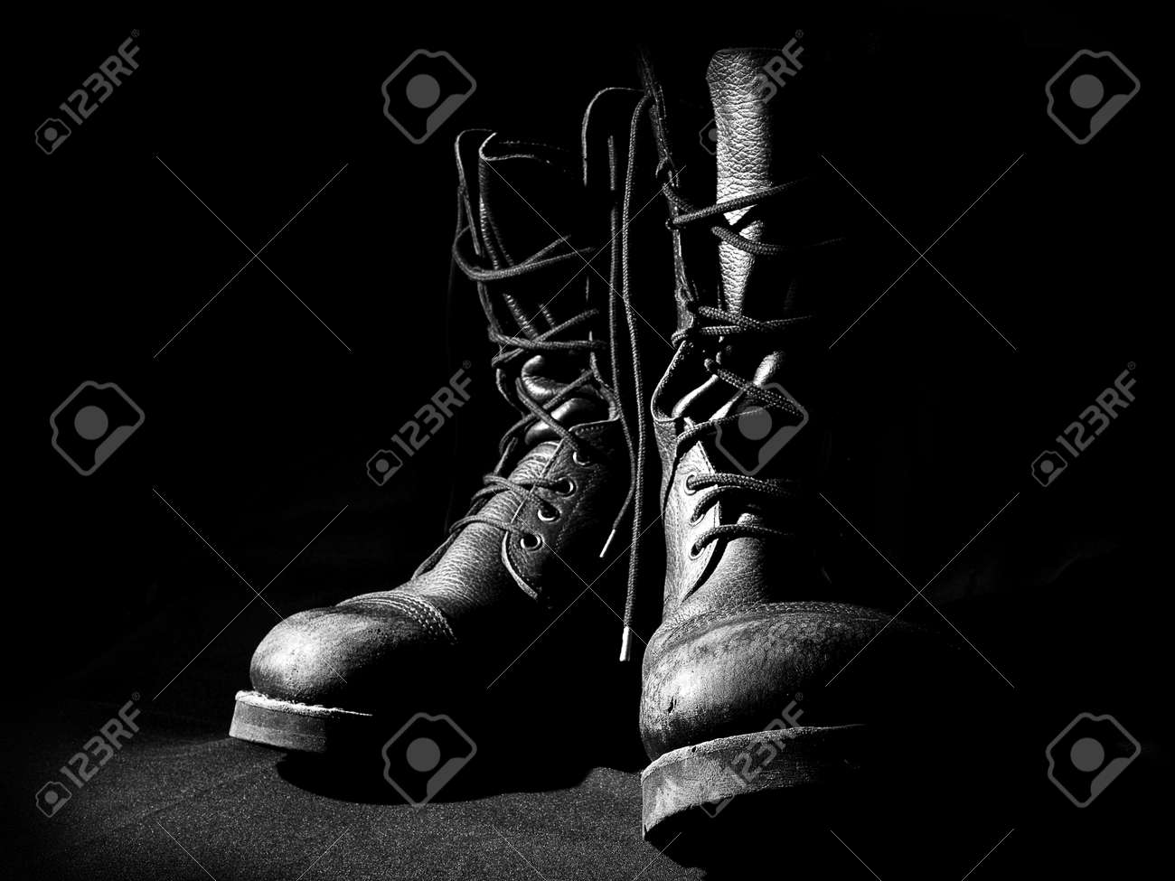 military army boots black background - 58431062