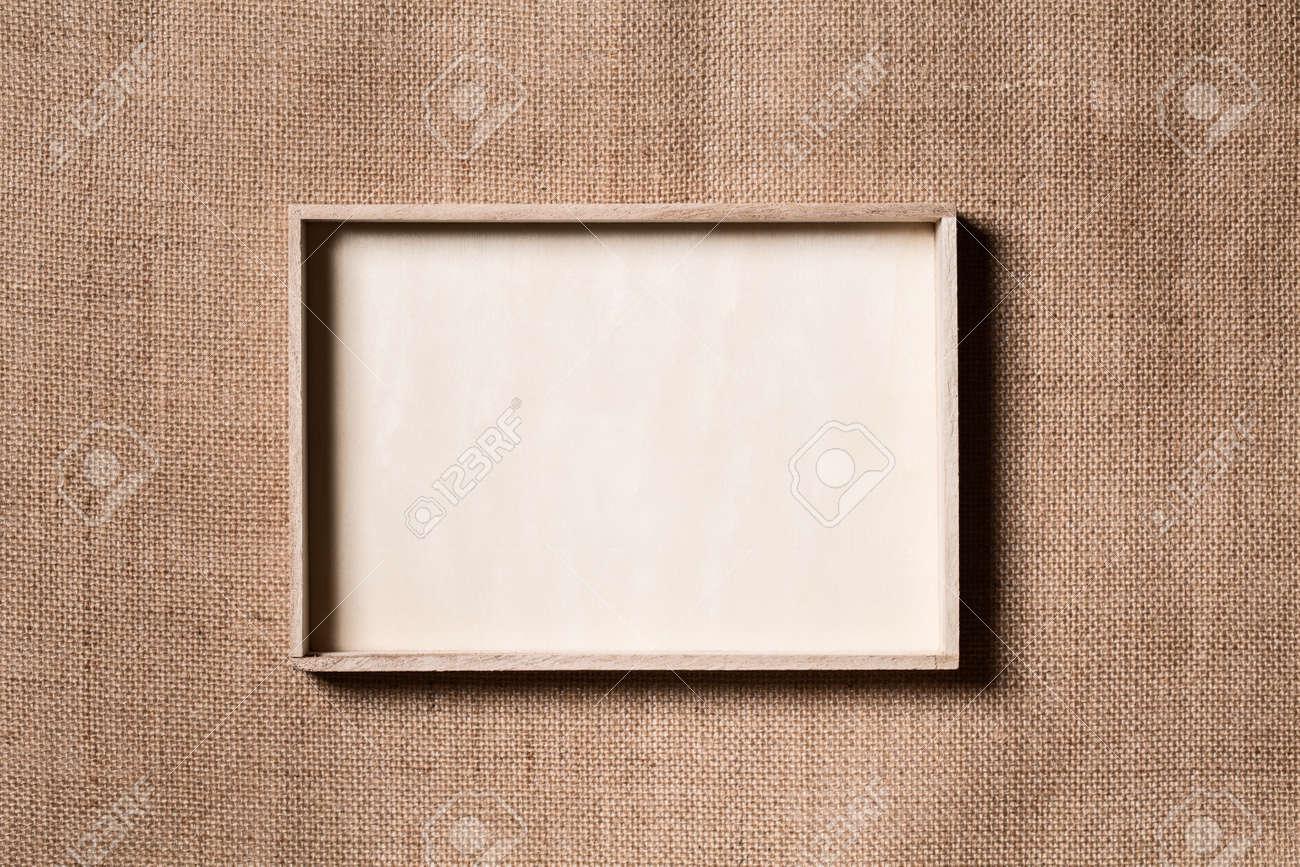 Burlap Frame, Wooden Border Over Sack Cloth Background, Wood.. Stock ...