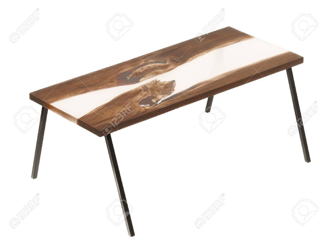 Wood And Epoxy Table With Metal Legs On White Isolated Background