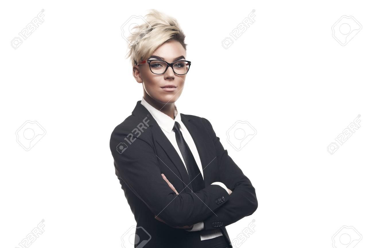 Blond Schone Business Dame In Weissen Hemd Brillen Schwarzen Anzug