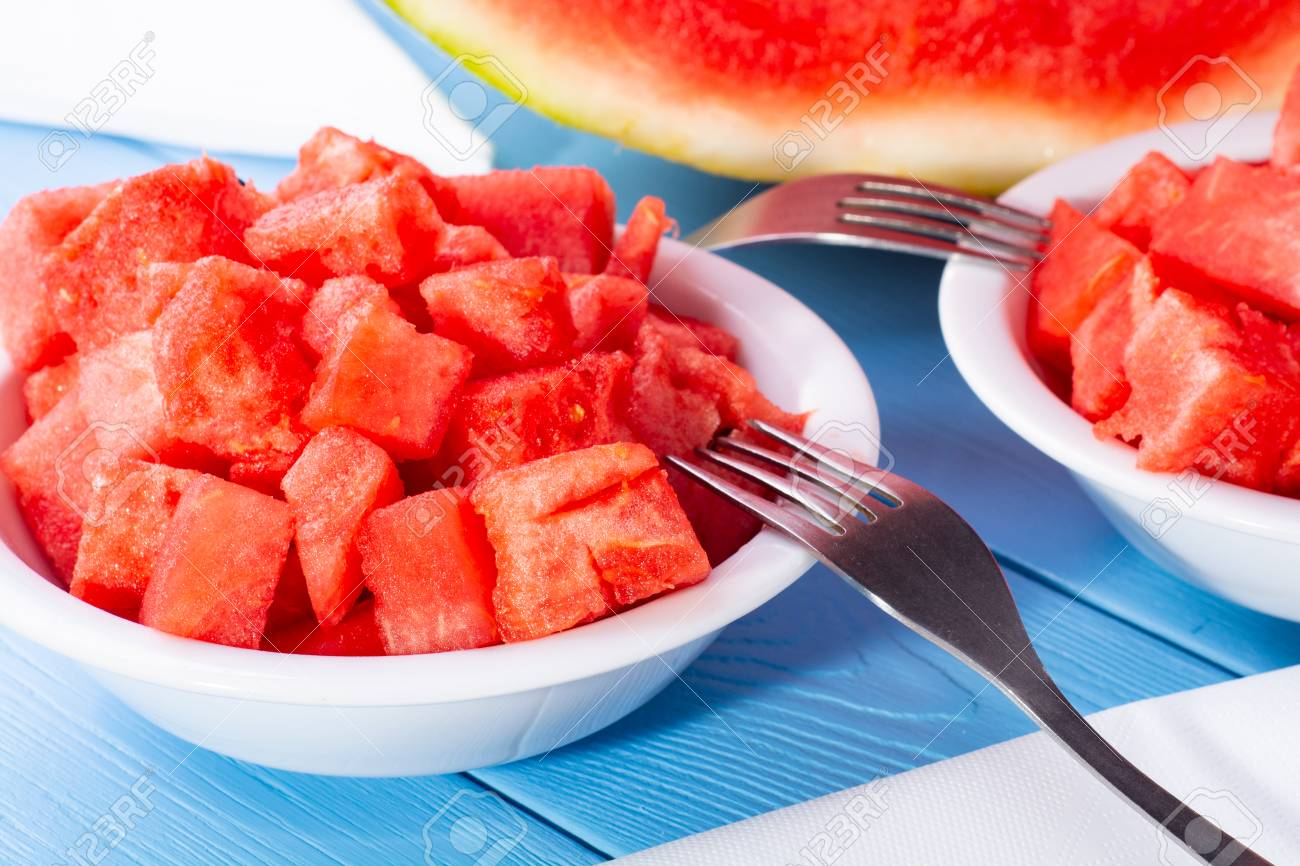 Watermelon Cut Into Cubes On A Plate