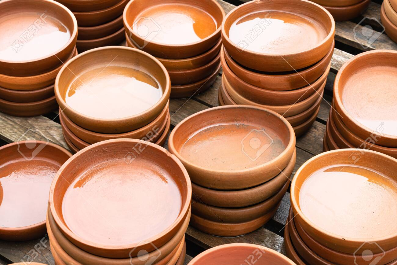 Many Cutlery Is Made Of Clay Ceramics And Handwork Close Up Template Stock Photo Picture And Royalty Free Image Image 131465712