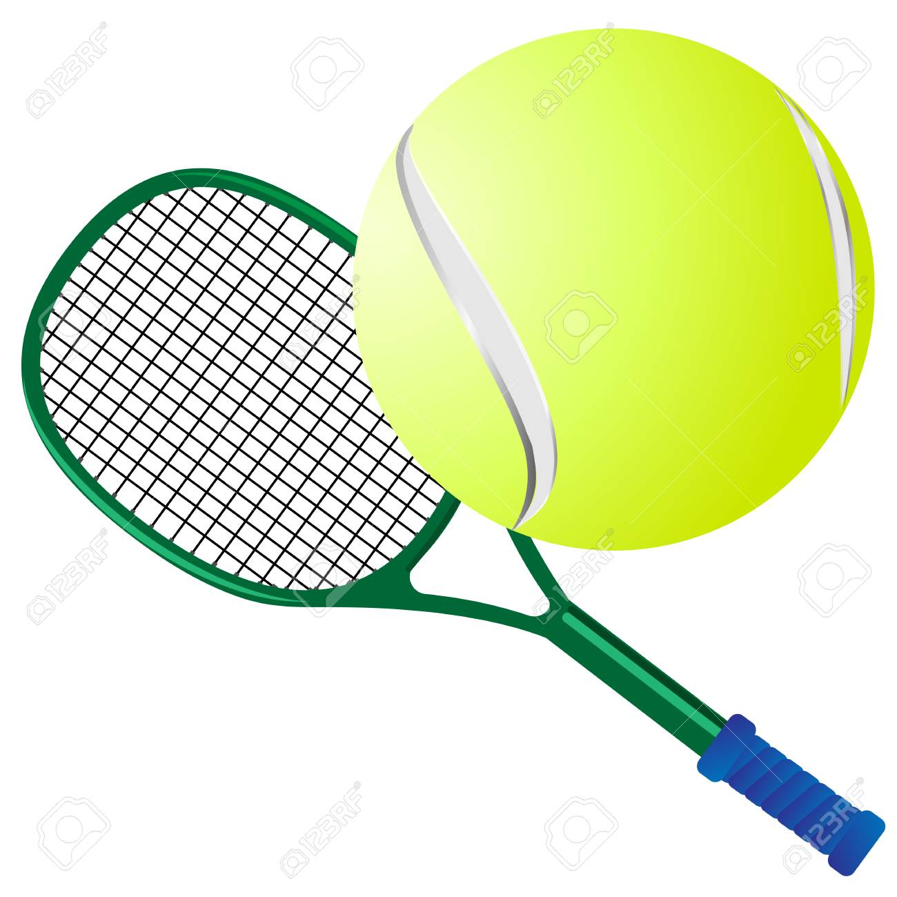 Vector Drawing Of Green Tennis Racket And Yellow Ball For Tennis