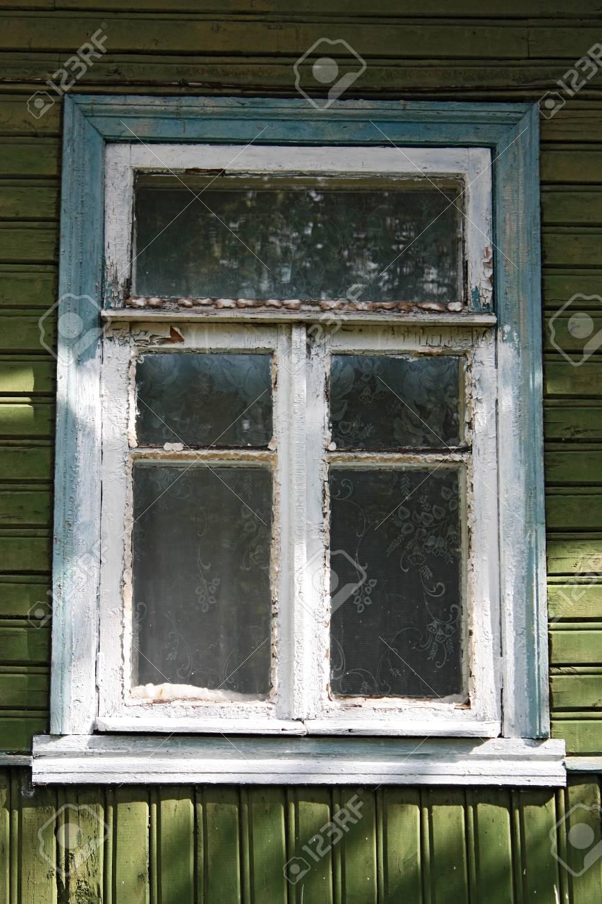 Détail Dun Mur Avec Une Fenêtre Dans La Vieille Maison En Bois