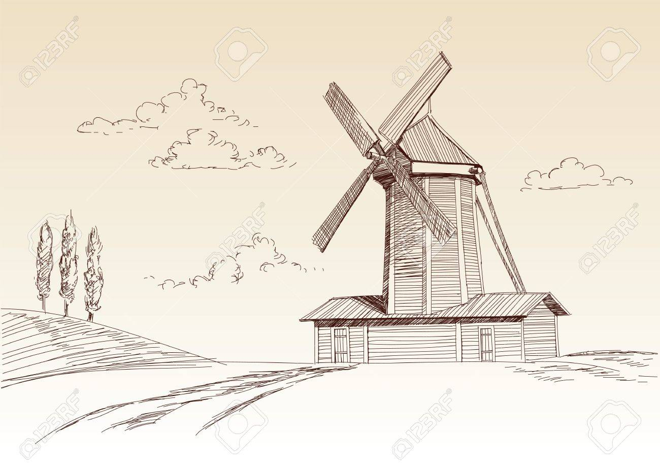 landscape with mill Stock Vector - 13557118