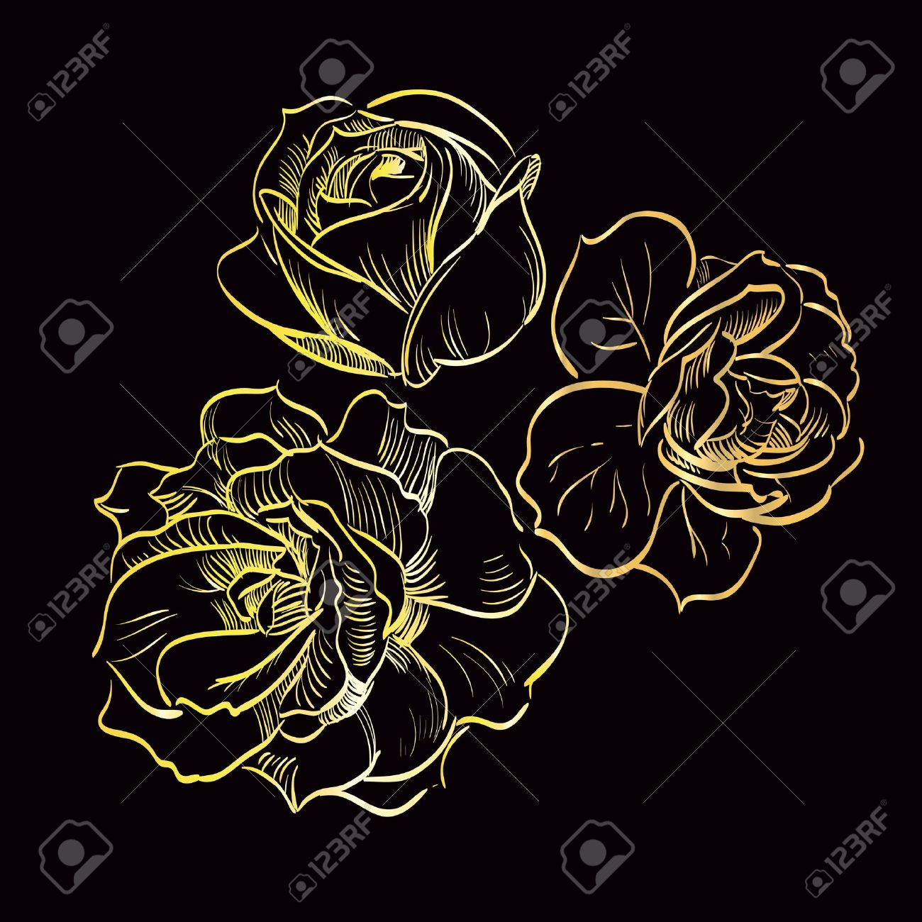 gold rose on black background Stock Vector - 14298448