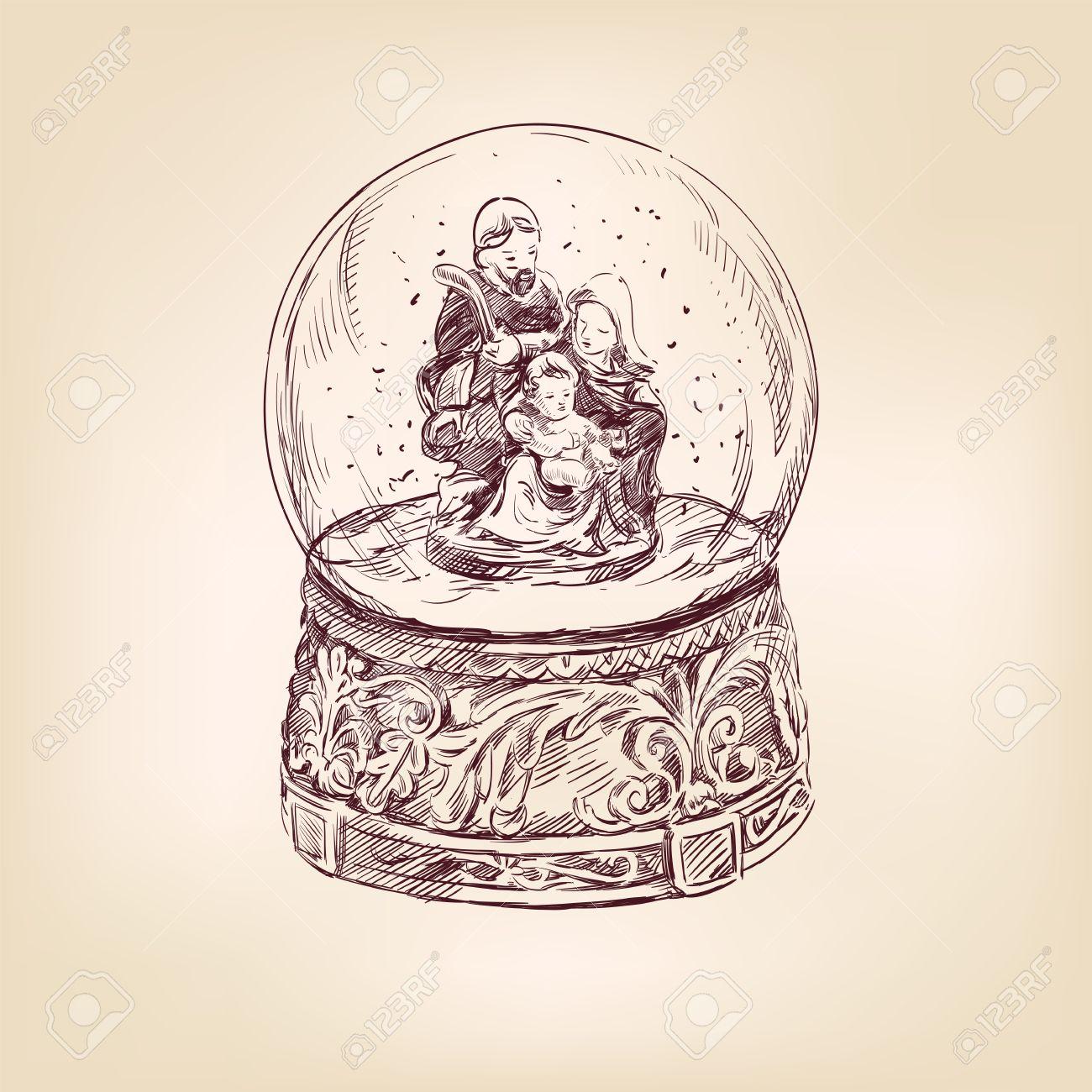 christmas snow globe hand drawn royalty free cliparts vectors and