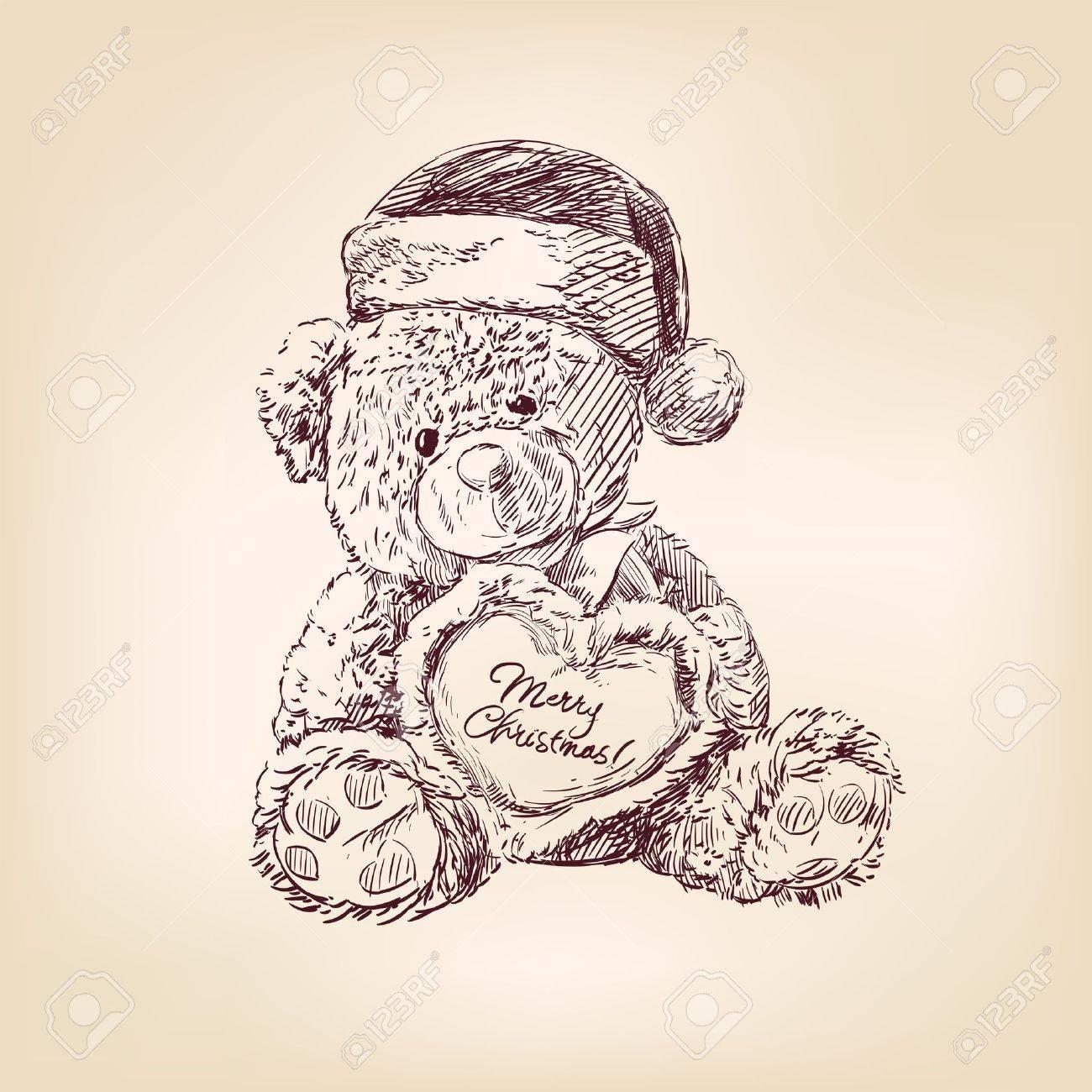 christmas  illustration of teddy bear Stock Vector - 16050920