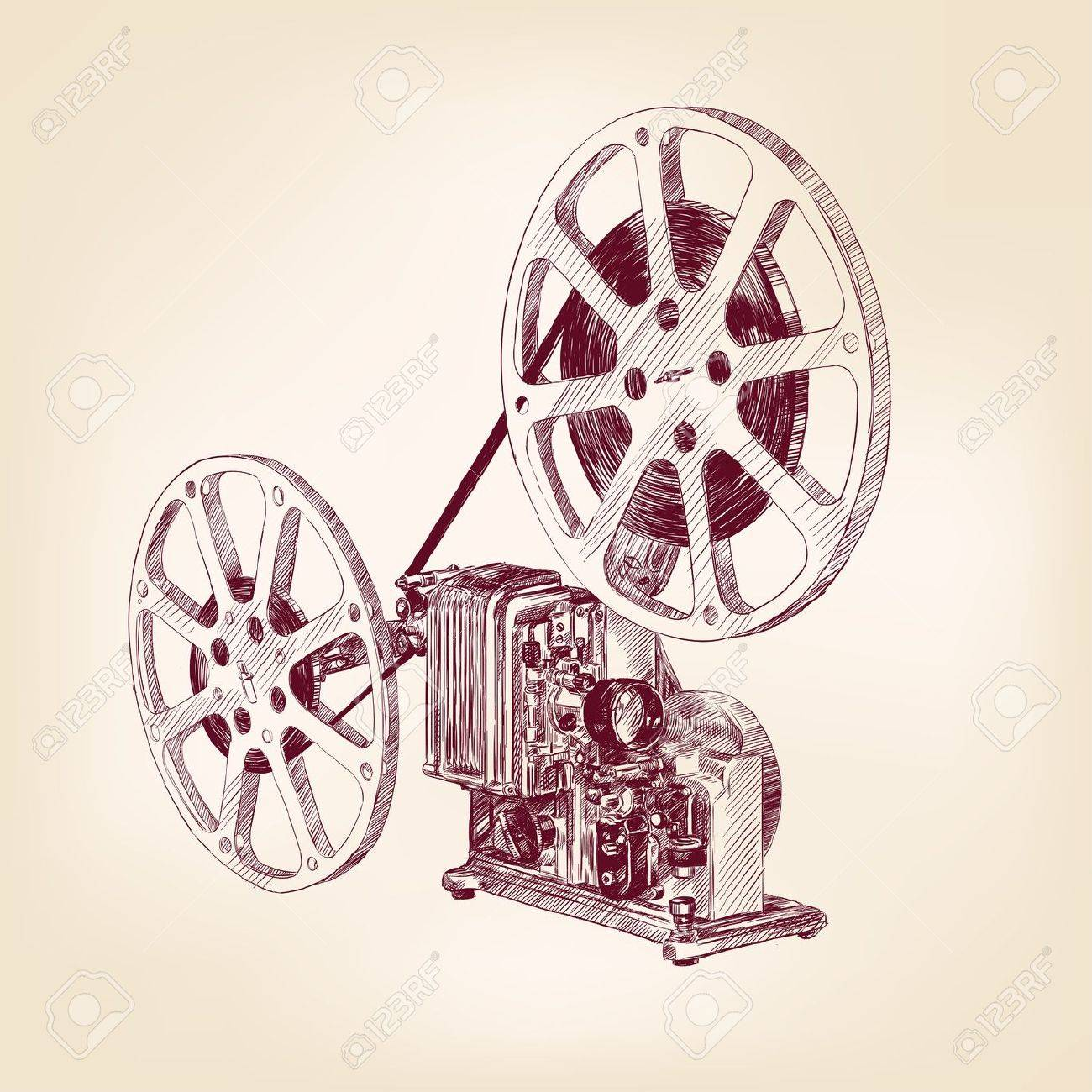 old film projector  hand drawn Stock Vector - 16793442