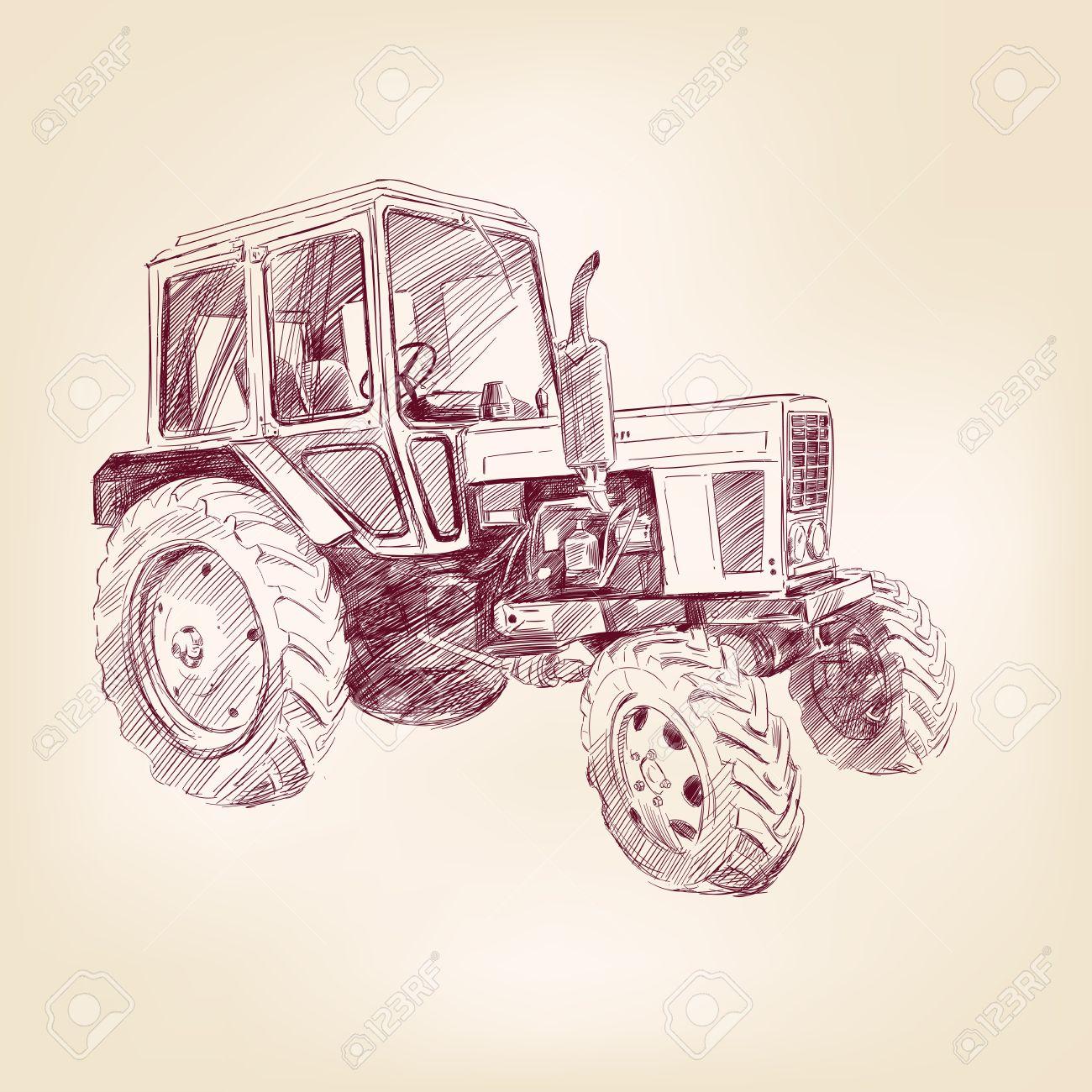 Farm tractor  hand drawn illustration  realistic sketch Stock Vector - 21262160