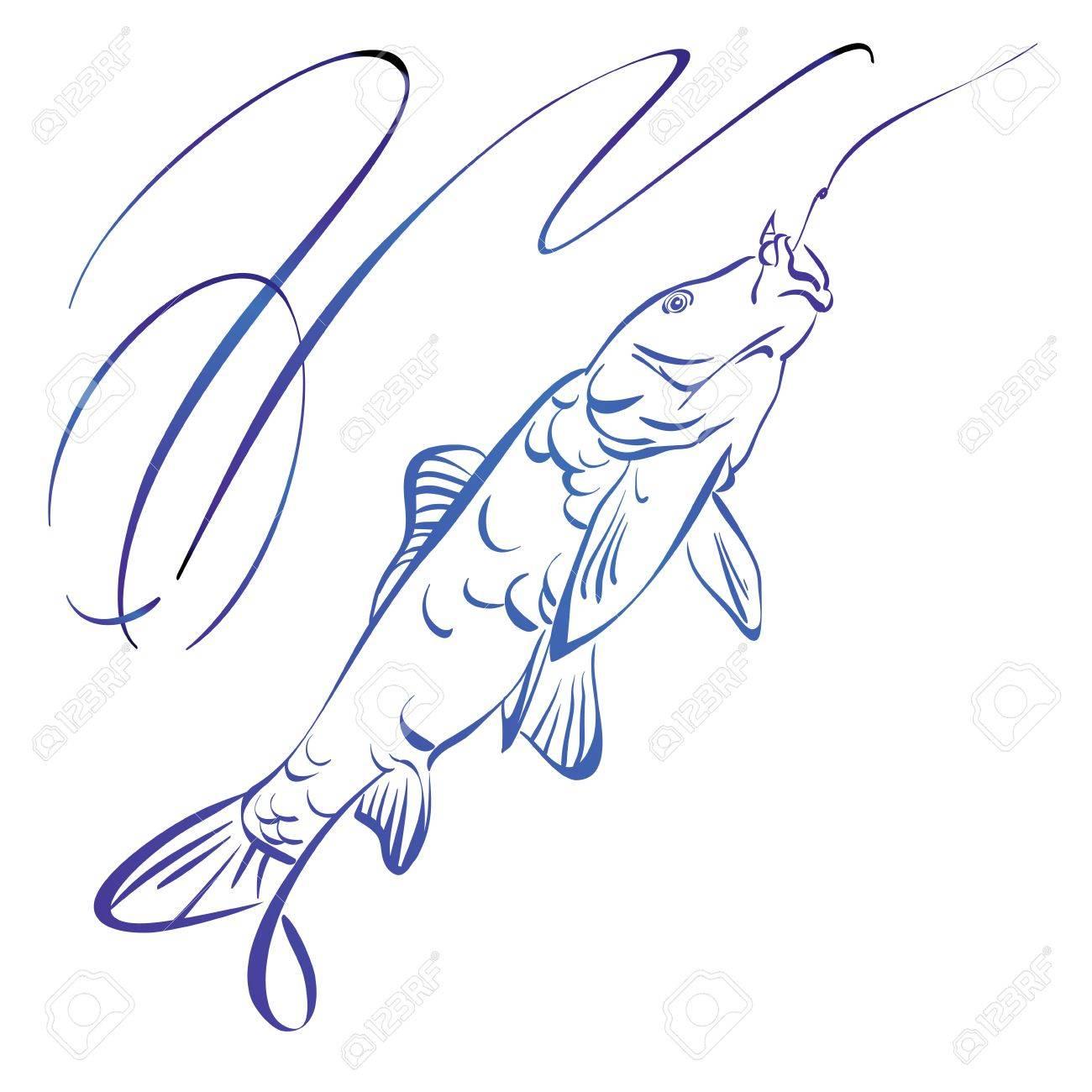 Fish symbol, hand drawn vector llustration realistic sketch Stock Vector - 23075922