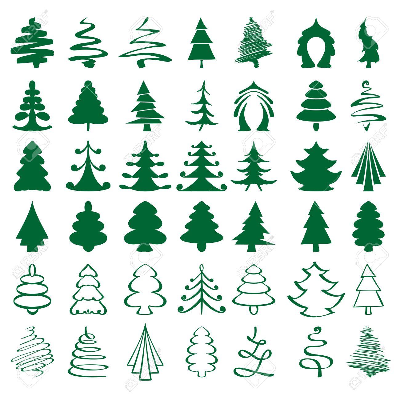 rboles de navidad boceto coleccin ilustracin vectorial de dibujos animados foto de archivo