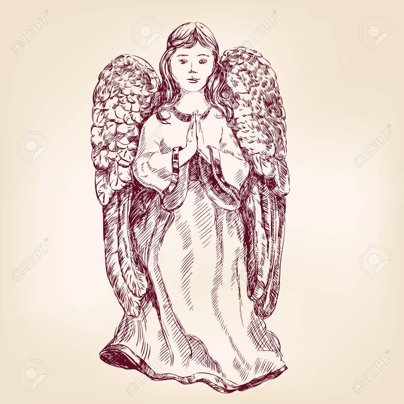 Dessin Ange Realiste ange illustration vectorielle croquis réaliste