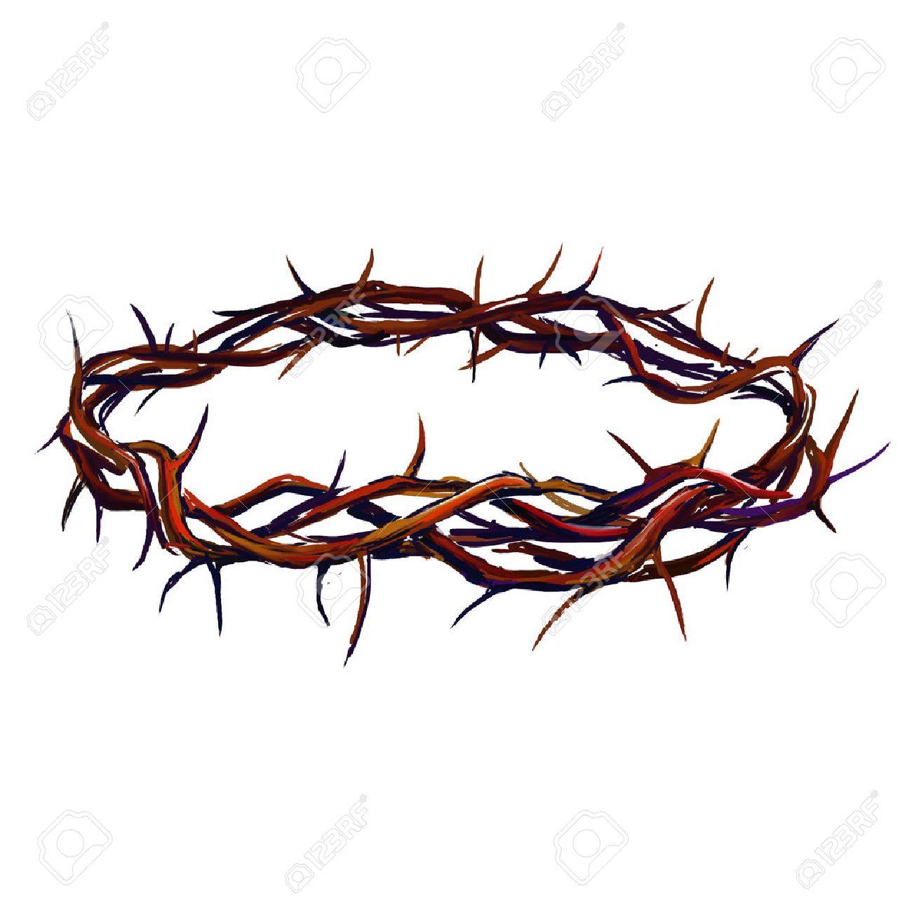 Corona De Espinas Ilustración Vectorial Dibujado A Mano Acuarela