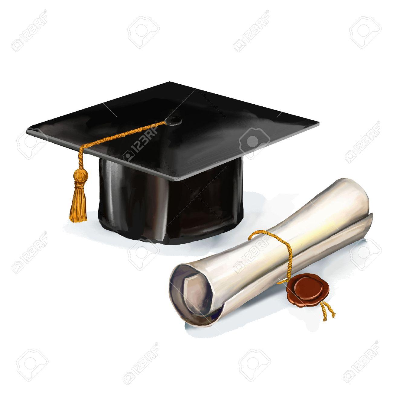 graduation cap and diploma vector illustration hand drawn painted watercol - 40217329
