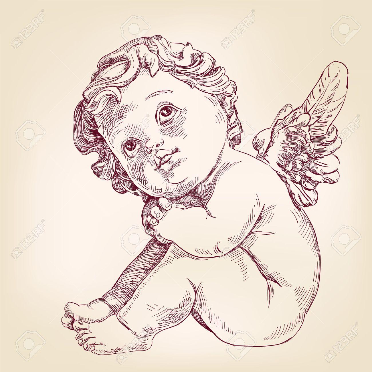 Dessin Ange Realiste ange ou cupidon petit bébé l dessiné à la main vecteur llustration croquis  réaliste