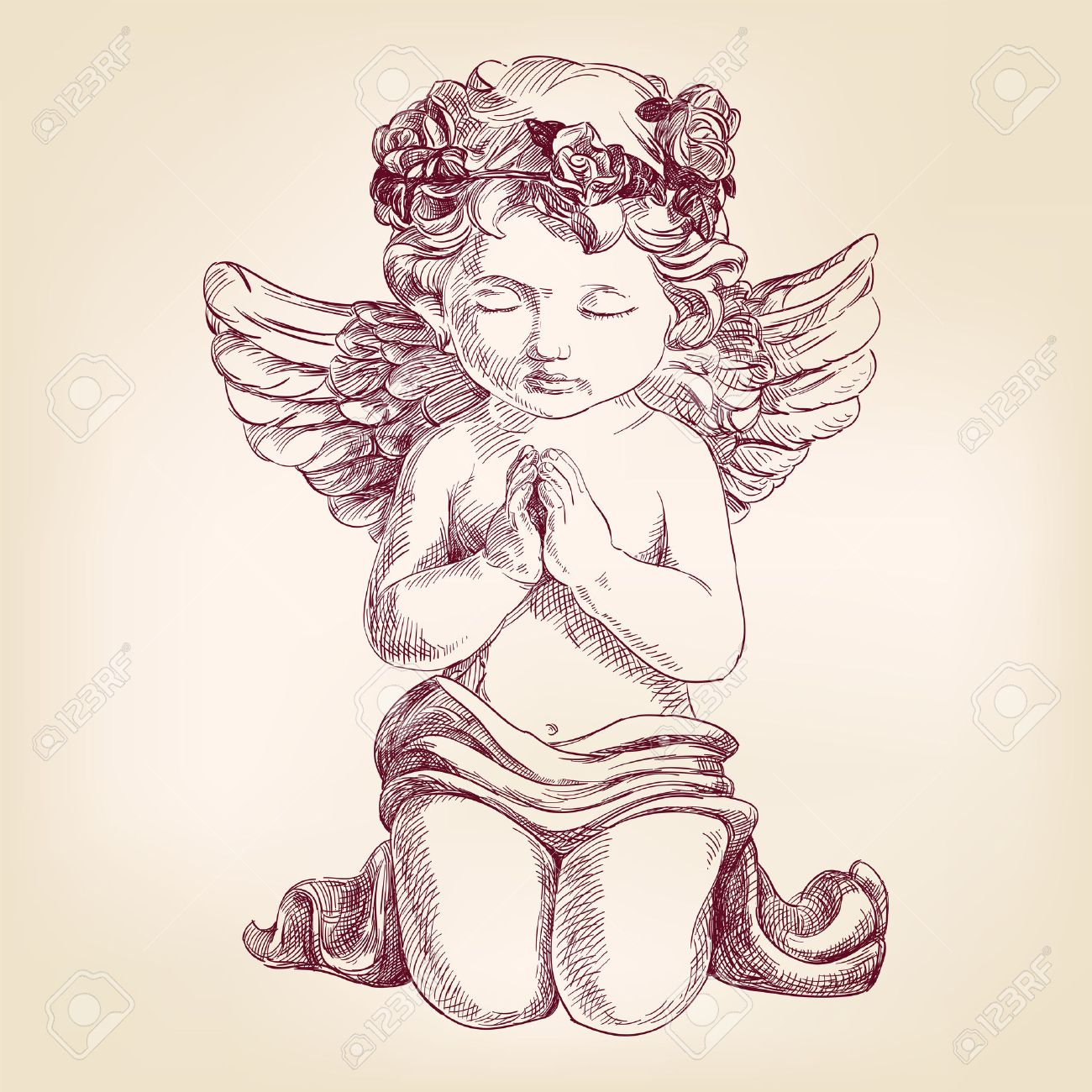 Dessin Ange Realiste angel prays on his knees hand drawn vector llustration realistic..