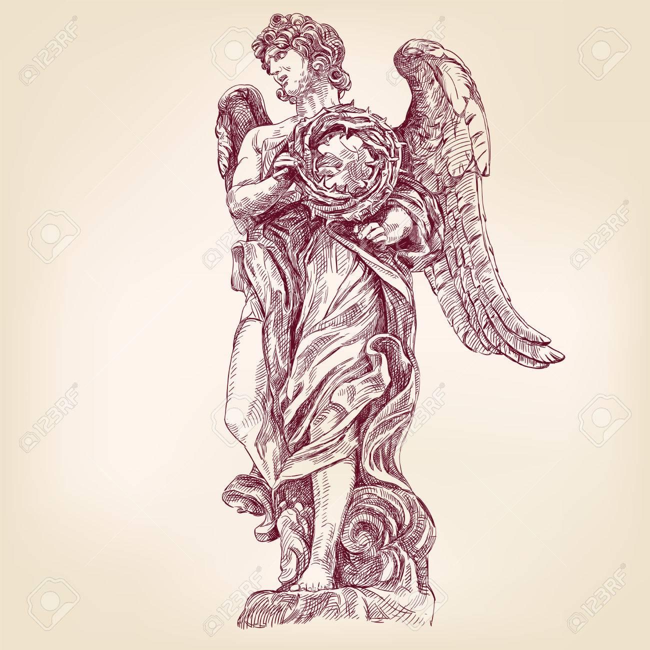 Dessin Ange Realiste ange tenant une couronne d'épines dessinés à la main vecteur llustration  esquisse réaliste