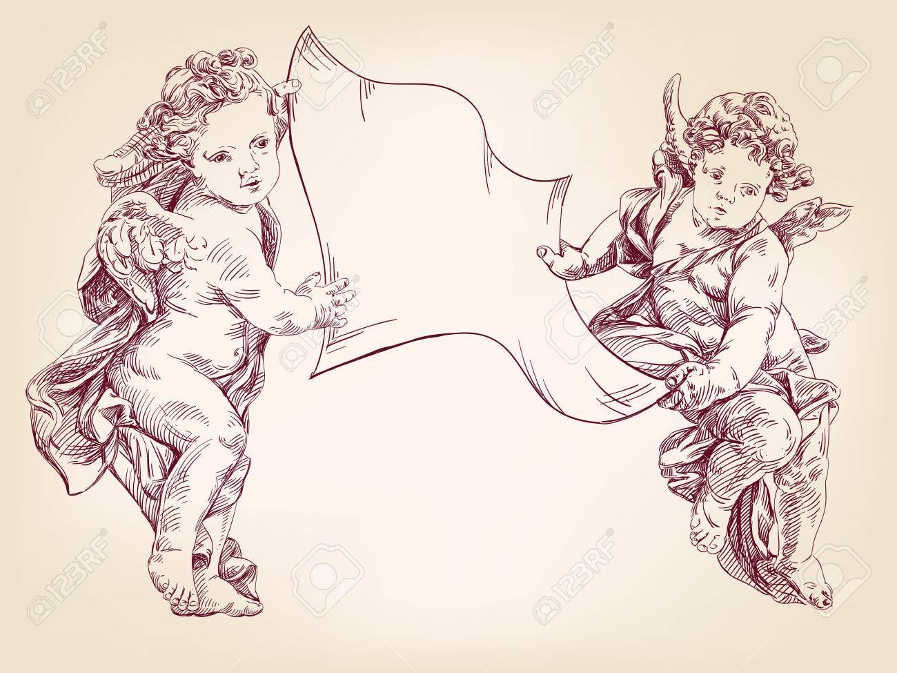 Dessin Ange Realiste anges ou cupidon tiennent une feuille de messages isolés dessinés à la main  vecteur llustration esquisse réaliste