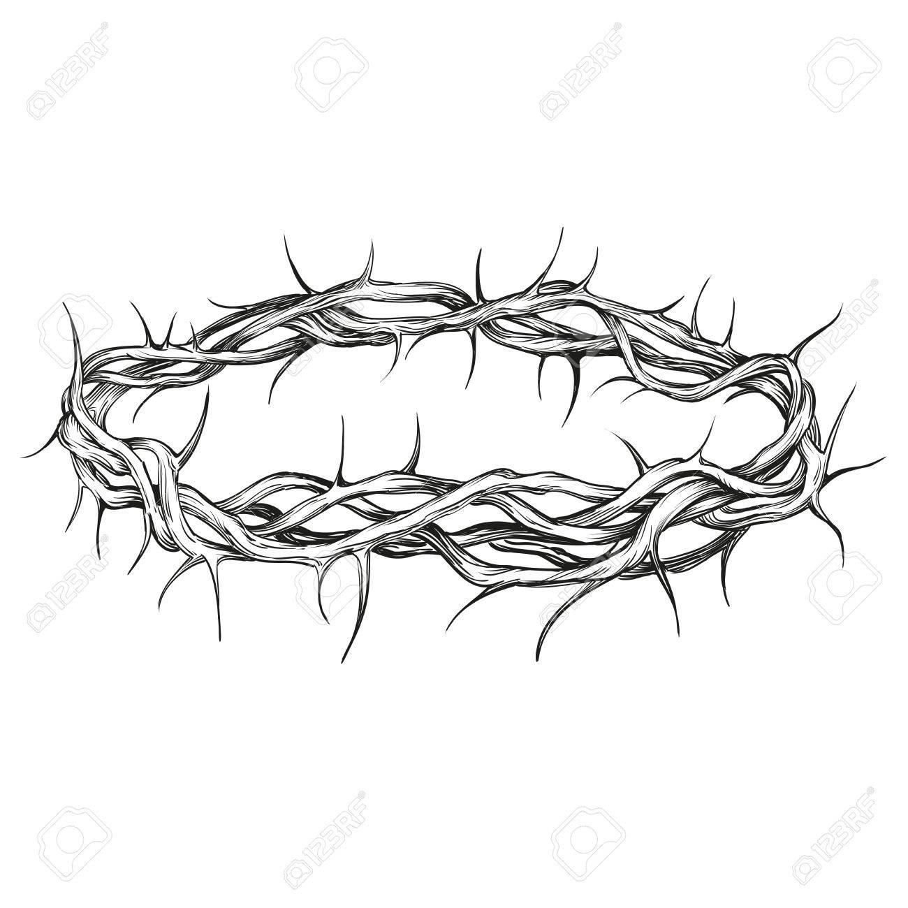 Corona De Espinas Símbolo Religioso Vector Dibujado A Mano