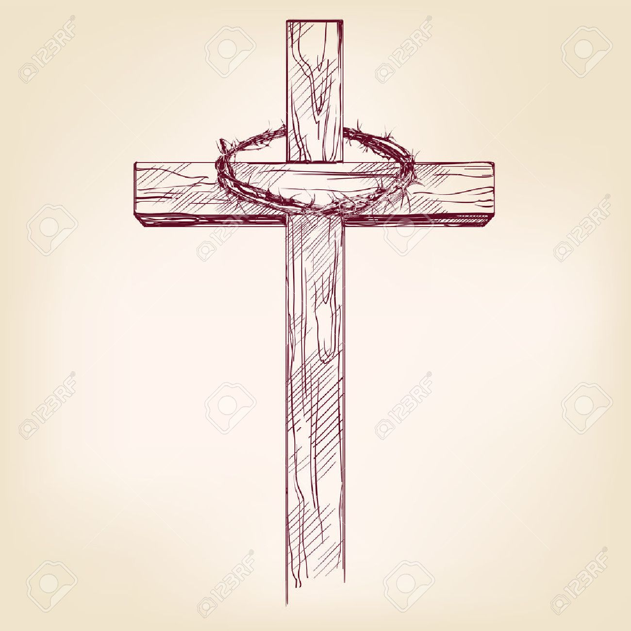 cross and crown of thorns, a symbol of Christianity hand drawn vector llustration realistic sketch - 53023694
