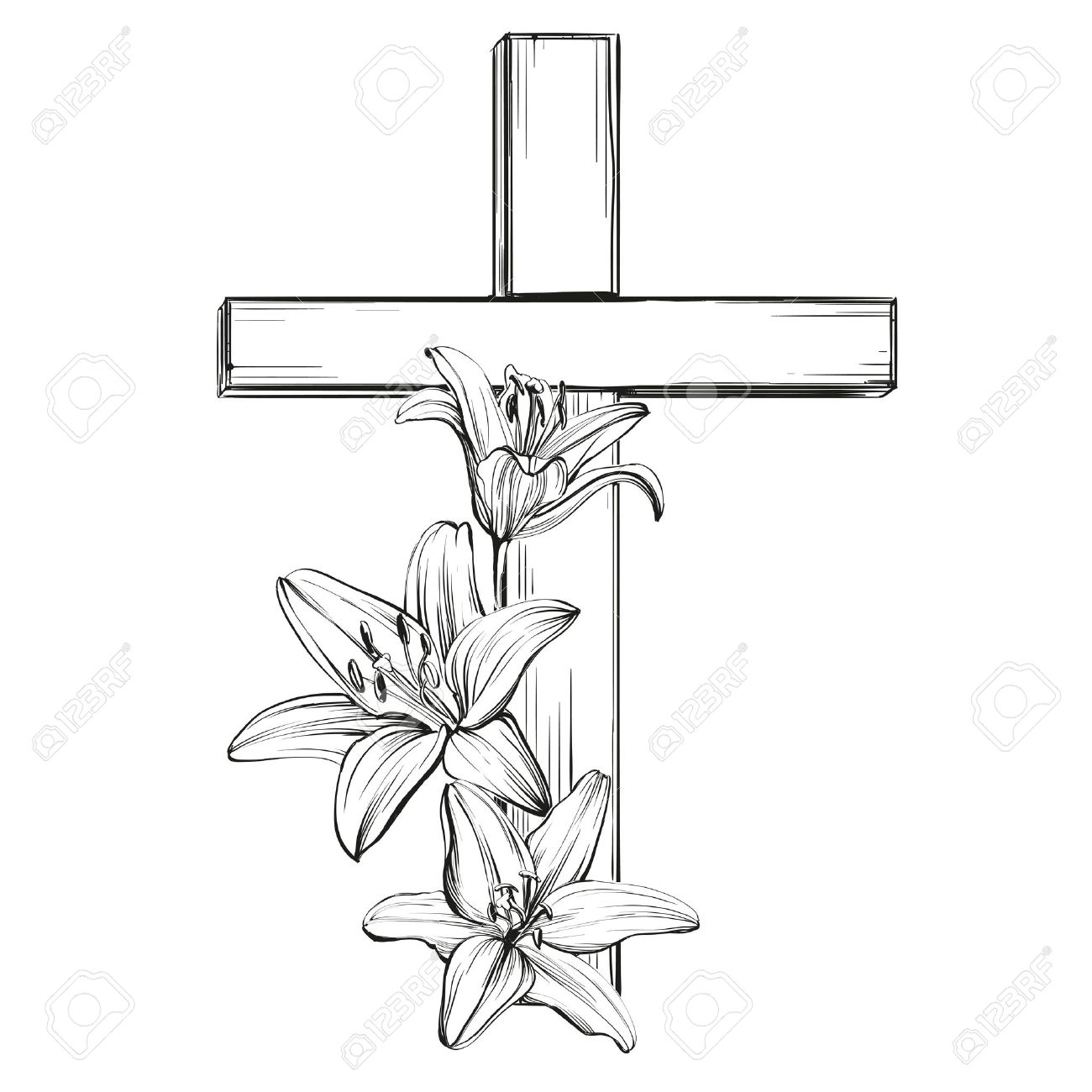 cross and floral blooming lilies, a symbol of Christianity hand drawn vector llustration sketch - 67208609