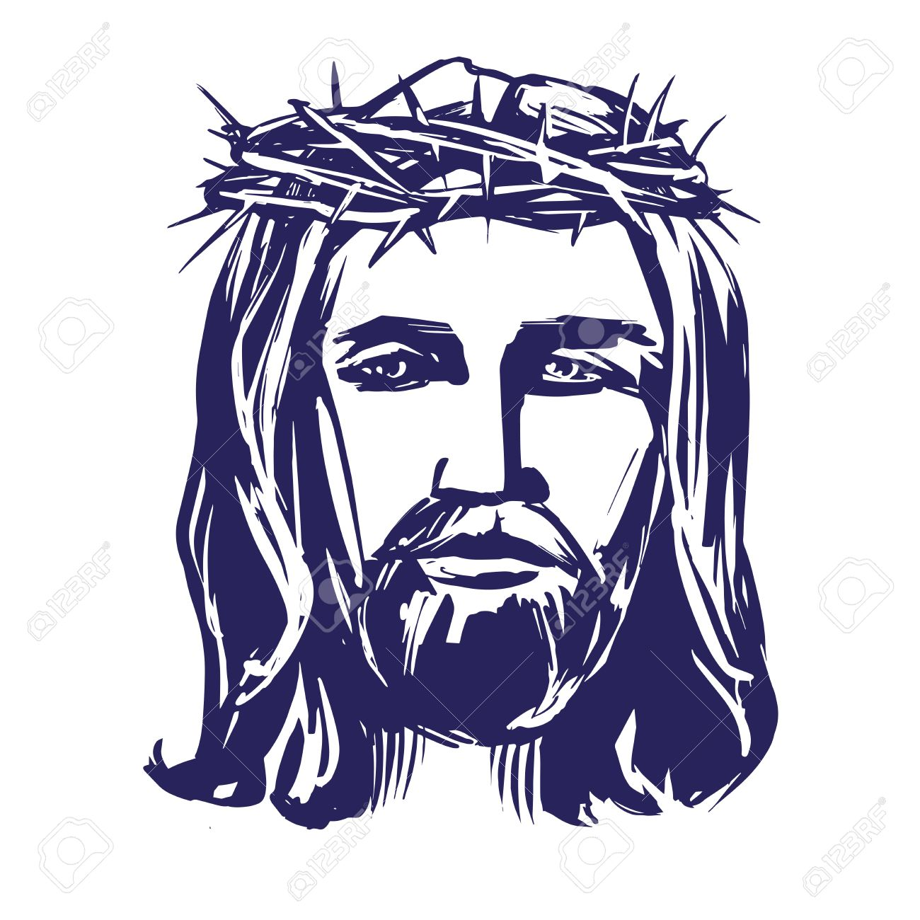 Jesus Christ, The Son Of God In A Crown Of Thorns On His Head ...