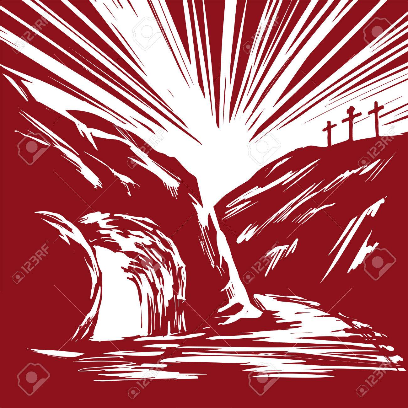 Easter Jesus Christ rose from the dead. Sunday morning. Dawn. The empty tomb in the background of the crucifixion. symbol of Christianity hand drawn vector illustration sketch - 72889182