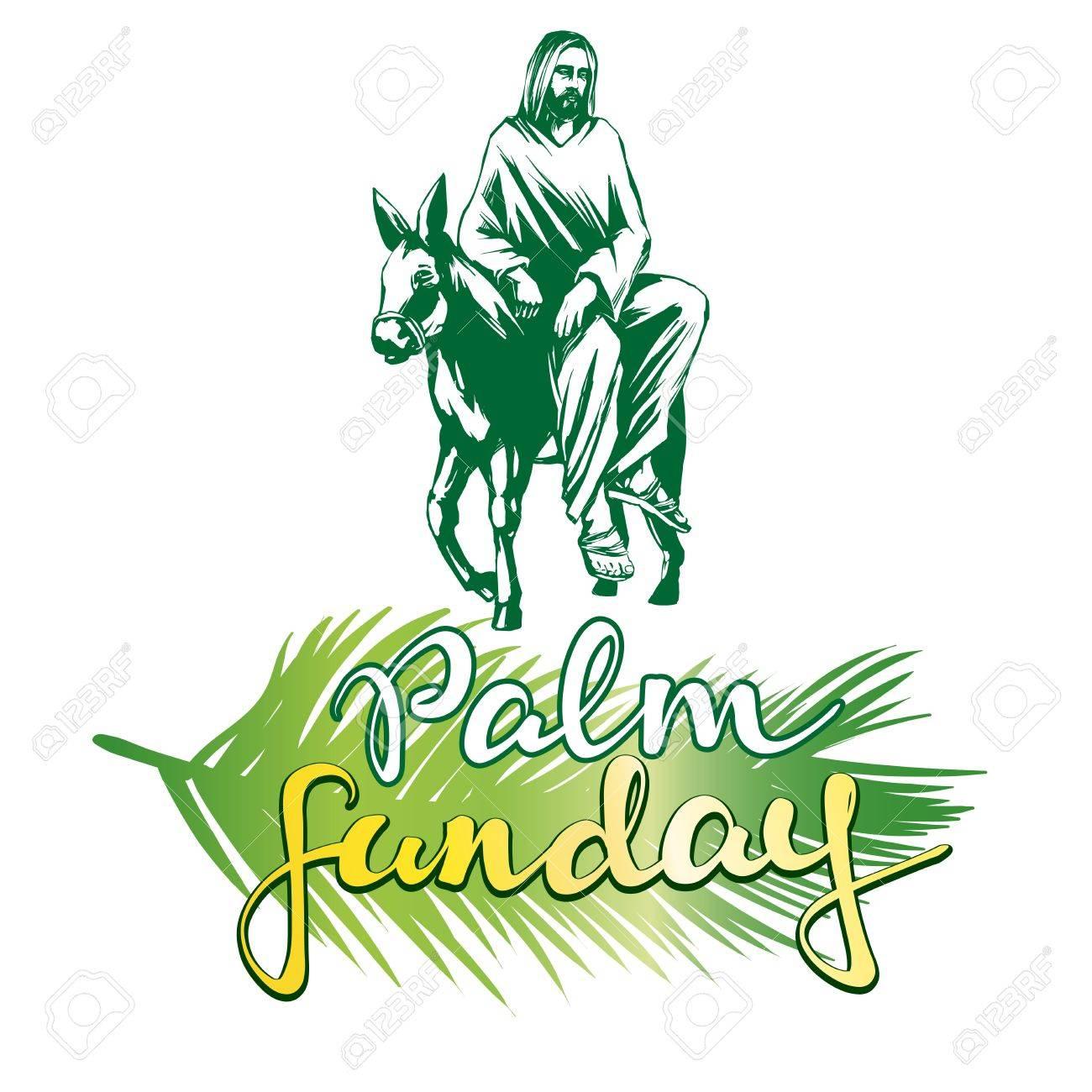 palm sunday jesus christ rides on a donkey into jerusalem symbol rh se 123rf com Christian Grandparents Clip Art Christian Rock Clip Art