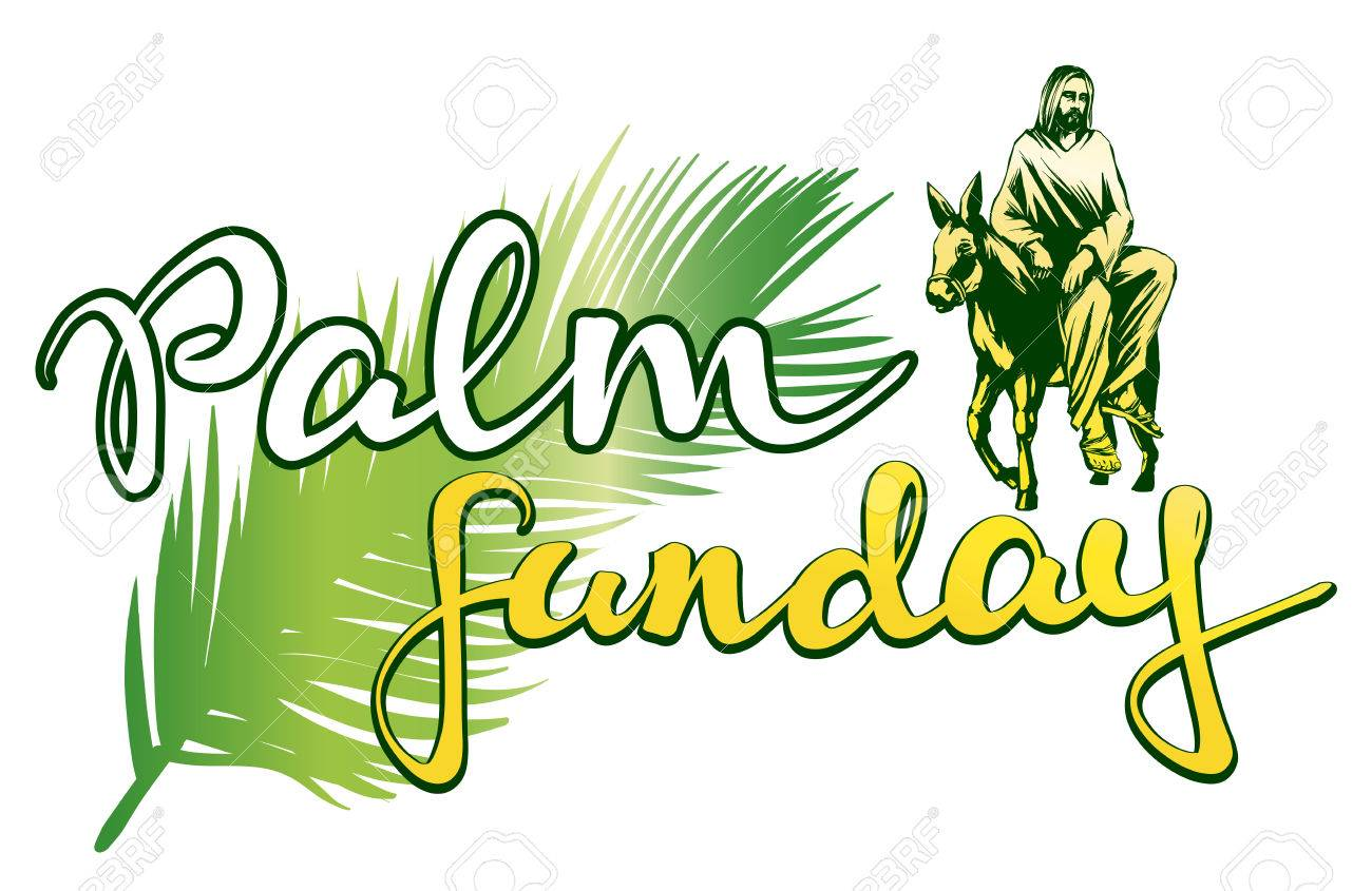 palm sunday jesus christ rides on a donkey into jerusalem rh 123rf com palm sunday clip art free images Jesus Palm Sunday