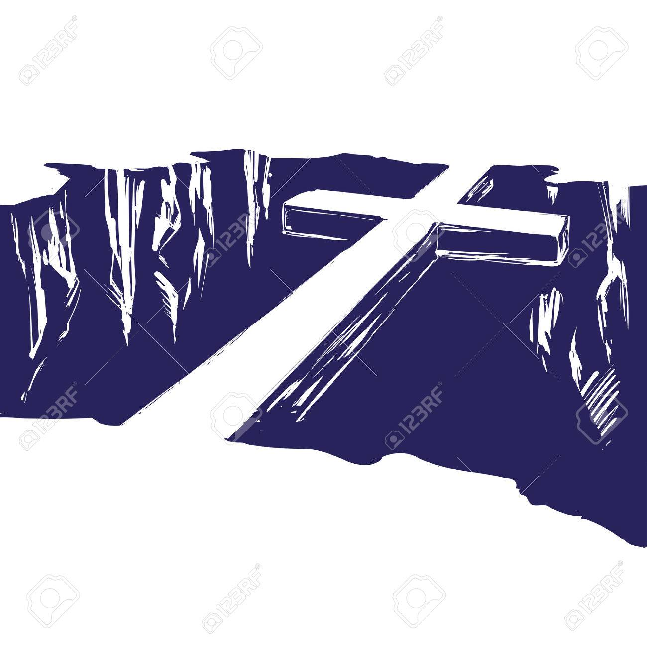 Christian wooden cross lying over the chasm, uniting us with God. Symbol of Christianity in hand drawn vector illustration sketch - 77507345