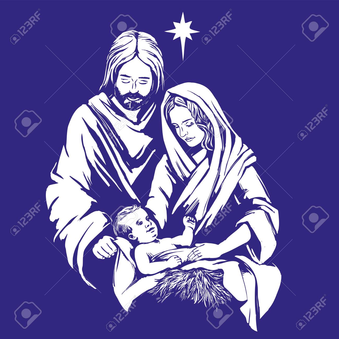 Christmas Story. Mary, Joseph And The Baby Jesus, Son Of God ...
