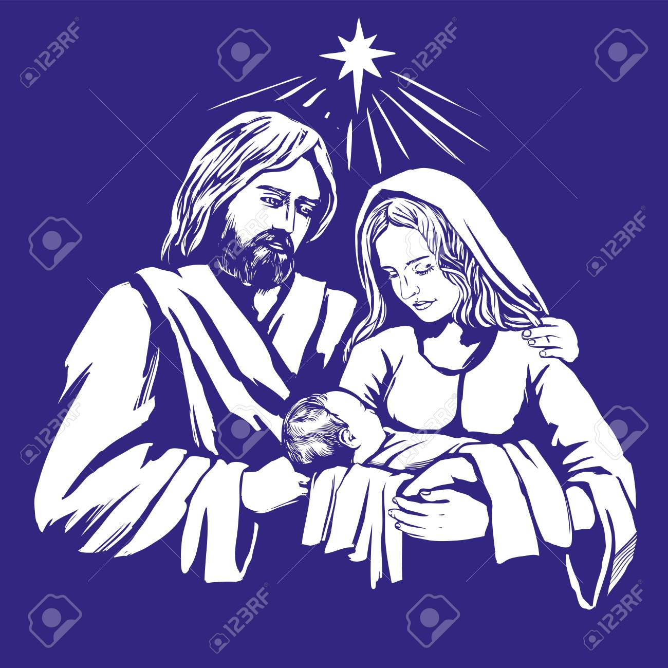 Christmas story. Mary, Joseph and the baby Jesus, Son of God , symbol of Christianity hand drawn vector illustration - 89706143