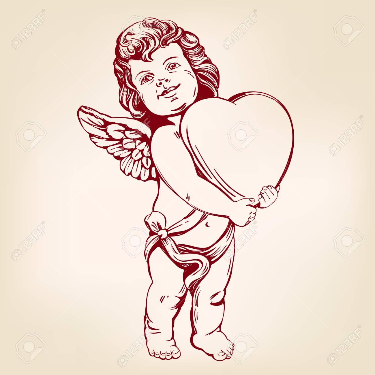 Dessin Ange Realiste ange ou cupidon, petit bébé est titulaire d'un coeur, saint valentin,  amour, carte de voeux croquis réaliste d'illustration vectorielle dessinés  à la