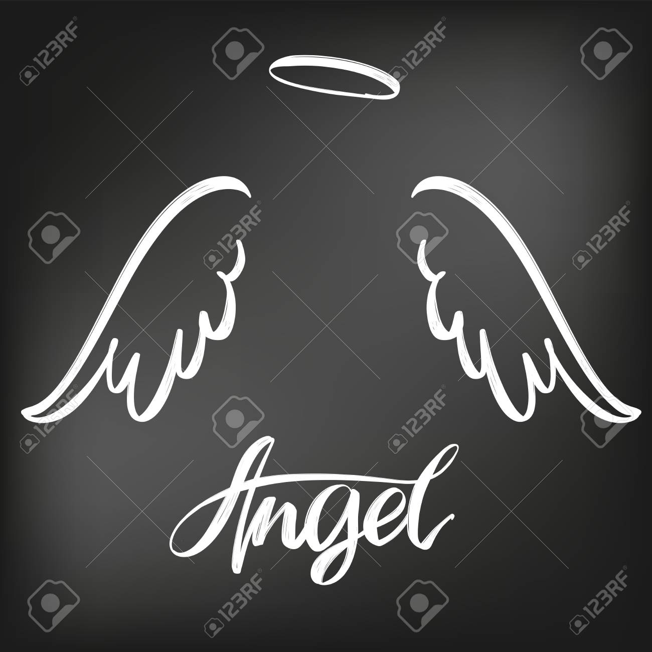Angel wings icon sketch collection, religious calligraphic text symbol drawn in chalk on a black Board. - 95363243