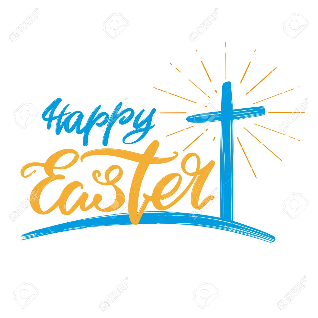 Happy Easter Holiday Religious Calligraphic Text Cross Symbol