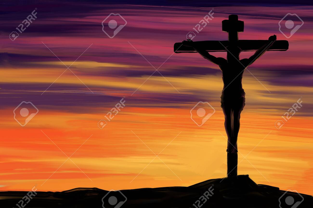 Jesus Christ, the Son of God, Holy Easter holiday religious, cross against the sky symbol of Christianity hand drawn illustration. - 122052361