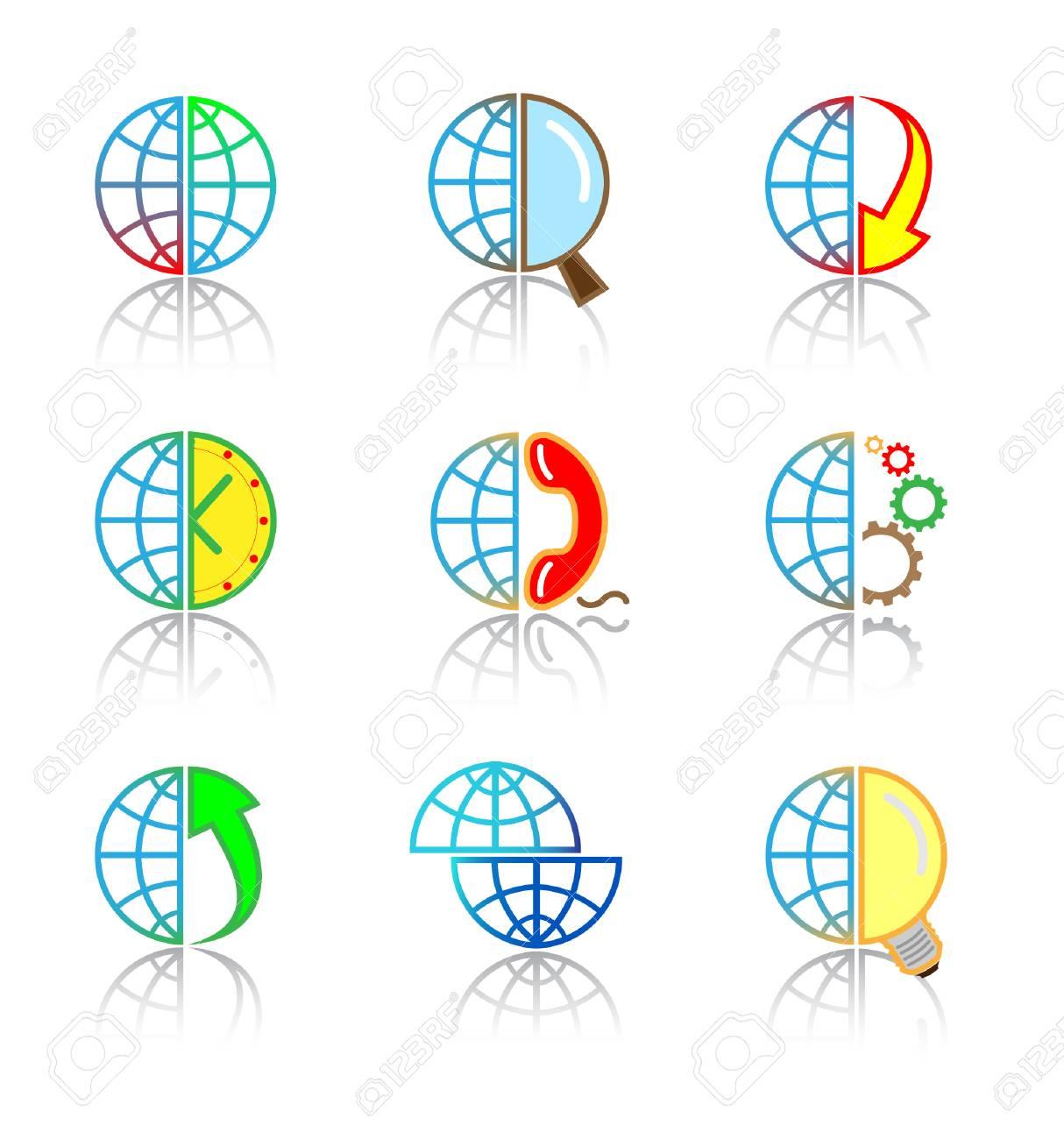 Vector internet icons. Globe set. Simply change. Stock Vector - 3142332