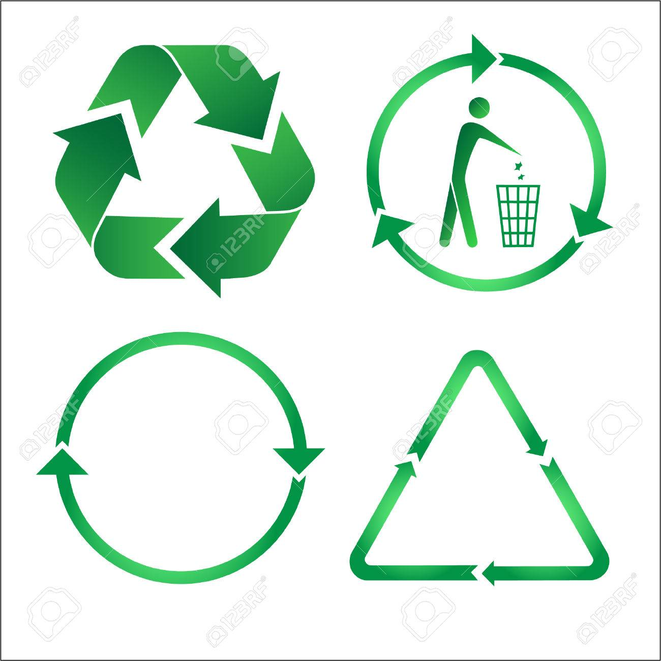 Recycle icons. Green and white. Other ecological vectors you can see in my portfolio. Stock Vector - 3219700