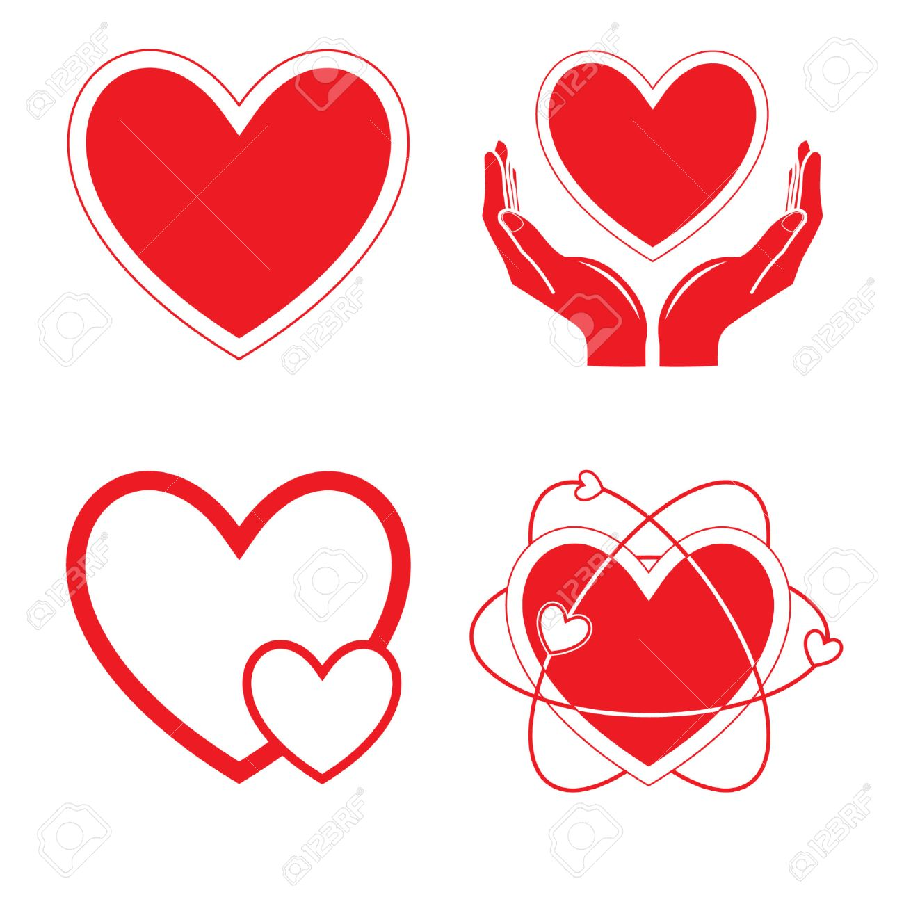 Vector heart icons. Red and white. Simply change. Stock Vector - 3256537