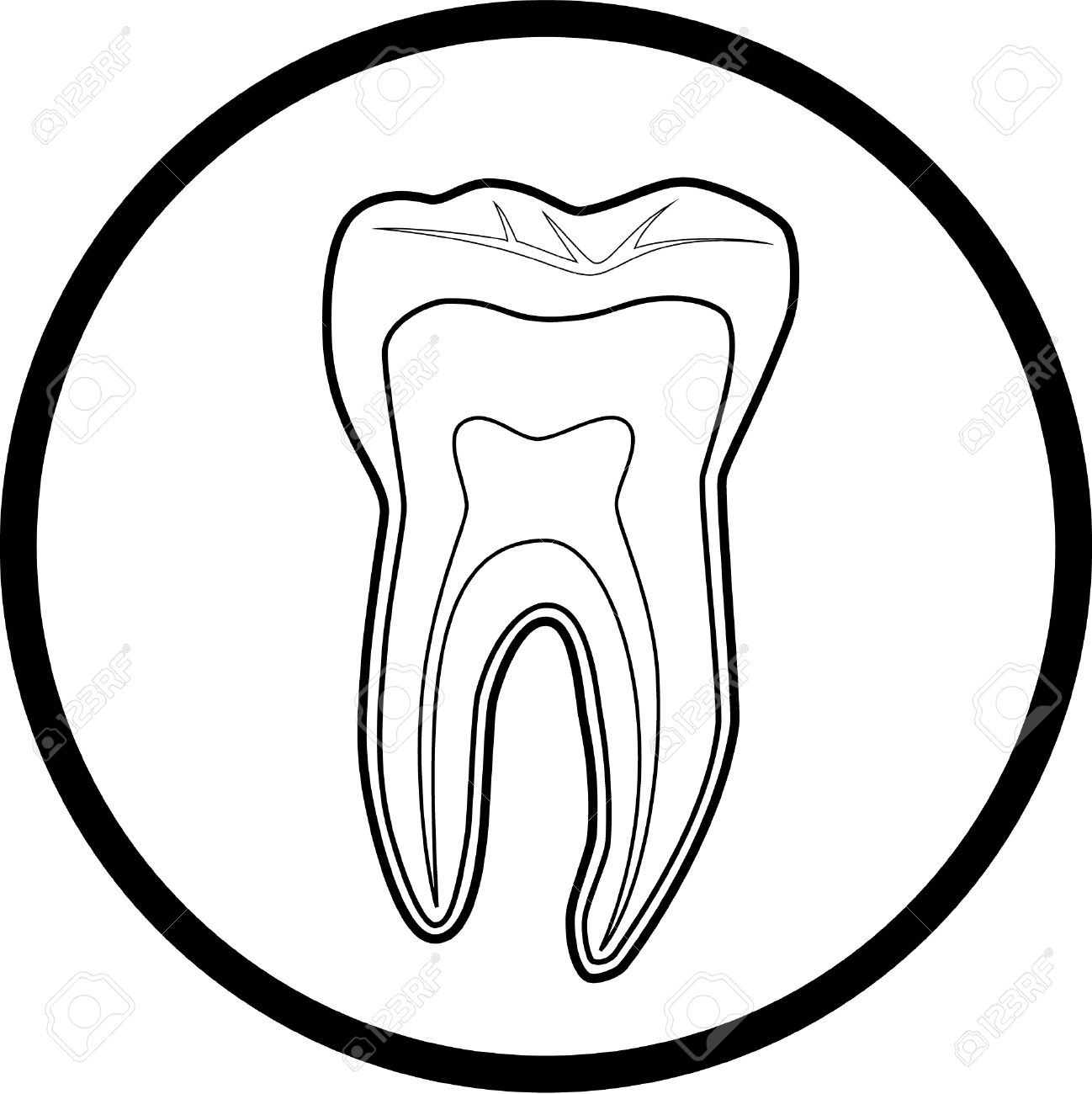 Vector tooth icon. Black and white. Simply change. Stock Vector - 4312051