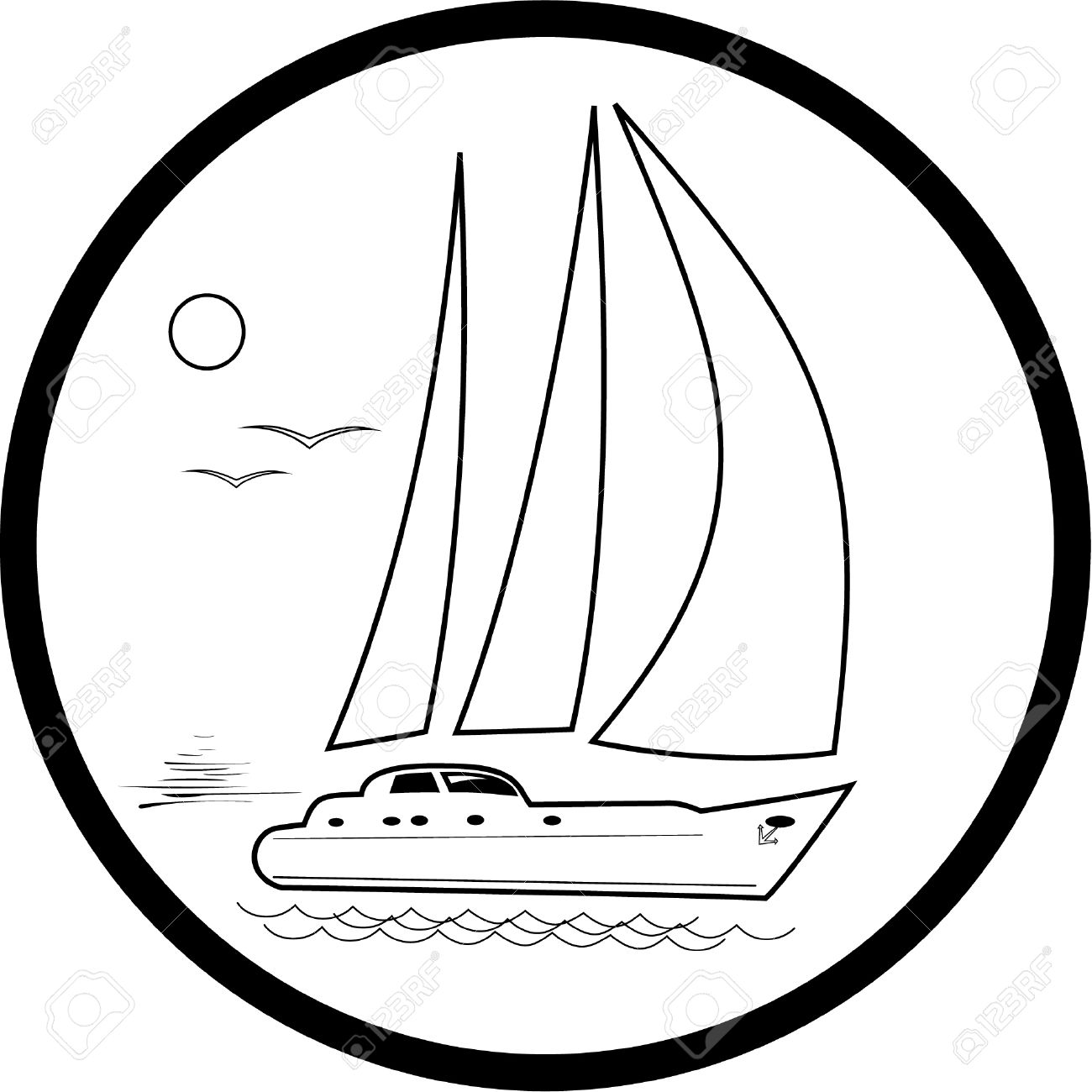 vector yacht icon black and white simply change royalty free