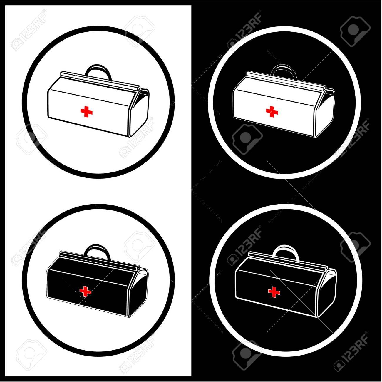 Vector medical suitcase icons. Black and white. Simply change. Stock Vector - 4344778
