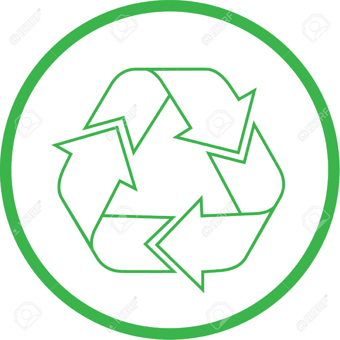 Vector recycle icon. Green and white. Simply change. Stock Vector - 4343986
