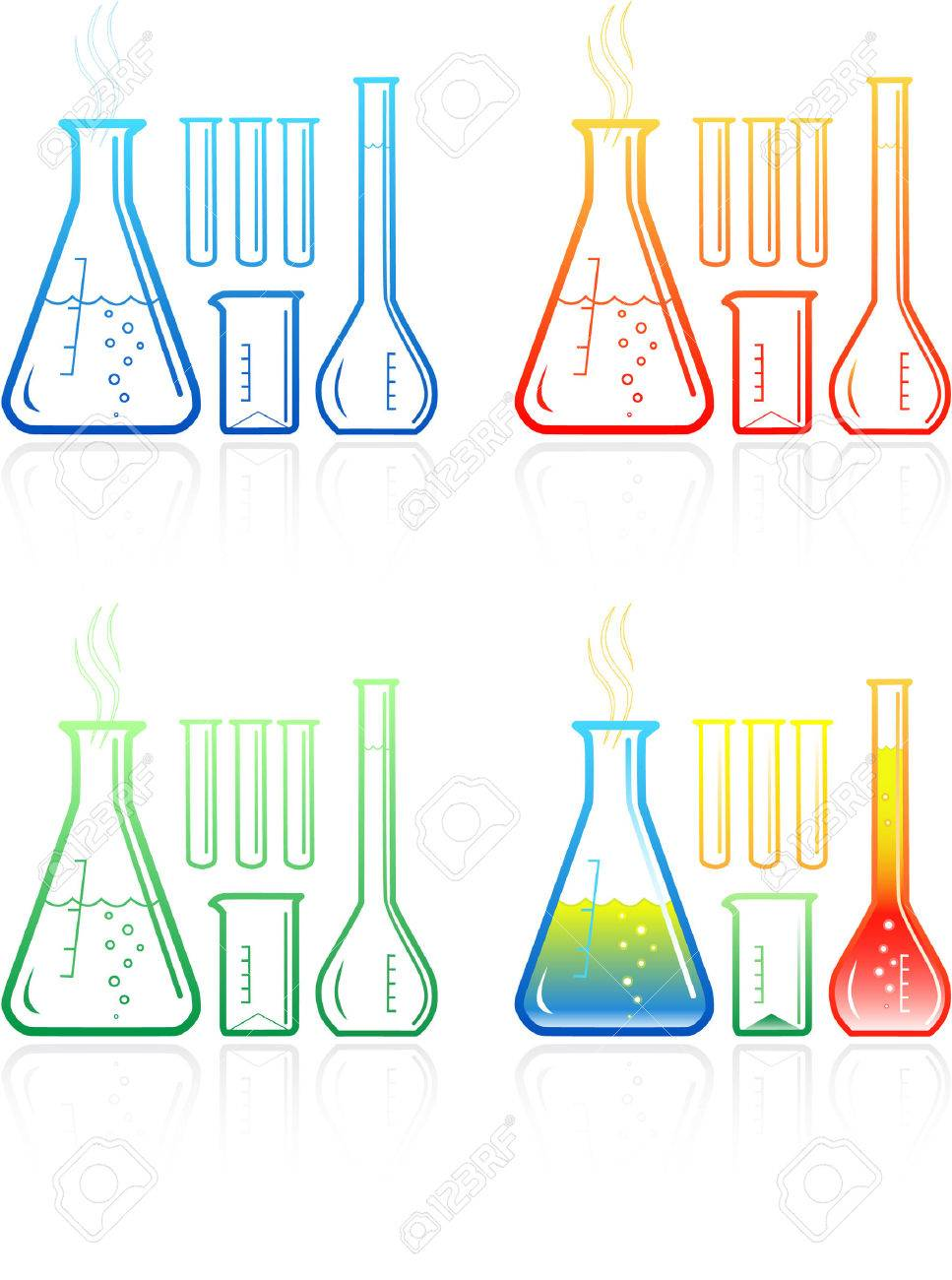Vector chemical test tubes icons. Simply change. Stock Vector - 4351312