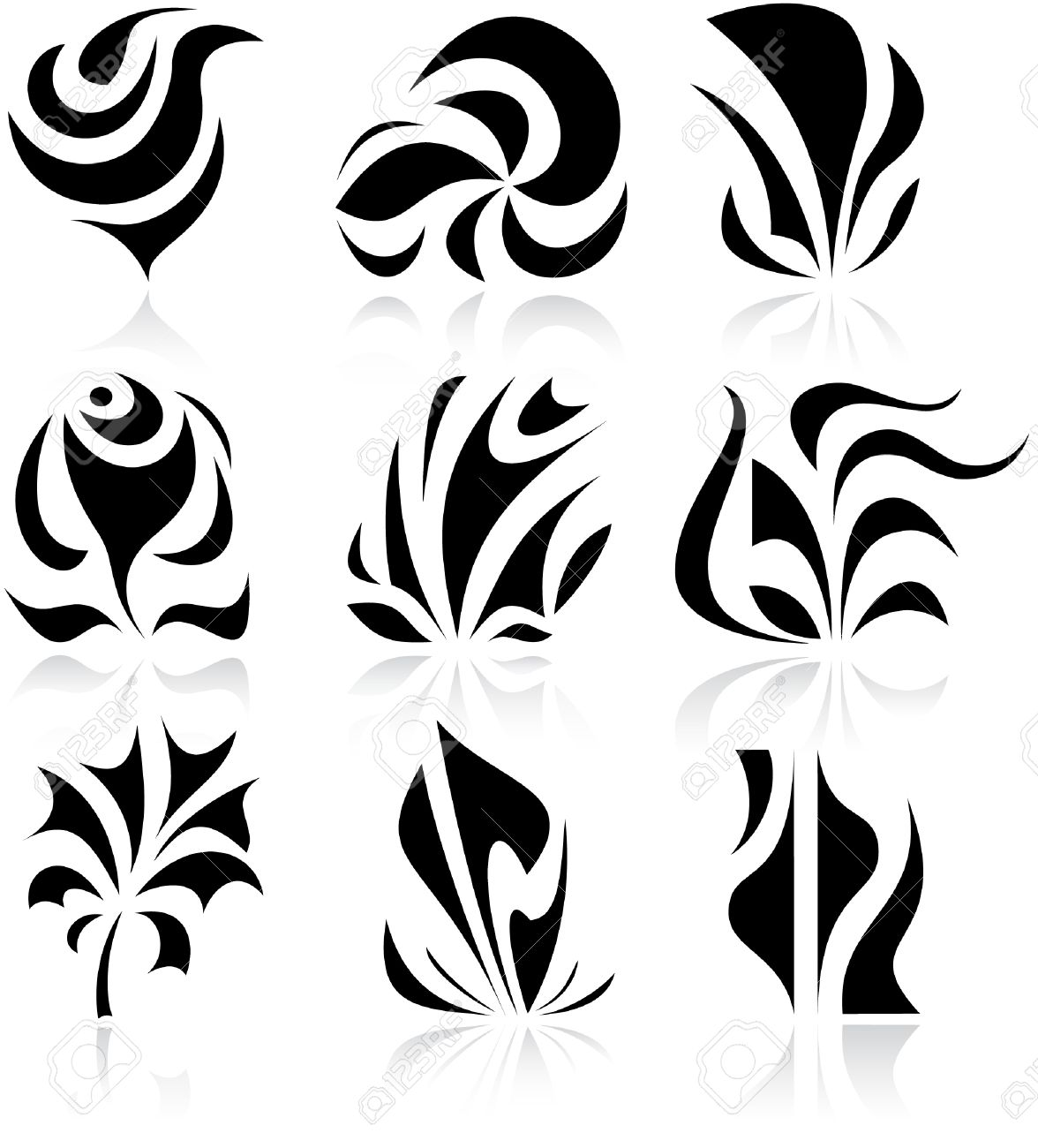 Vector abstract internet icons. Black and white. Stock Vector - 4396716