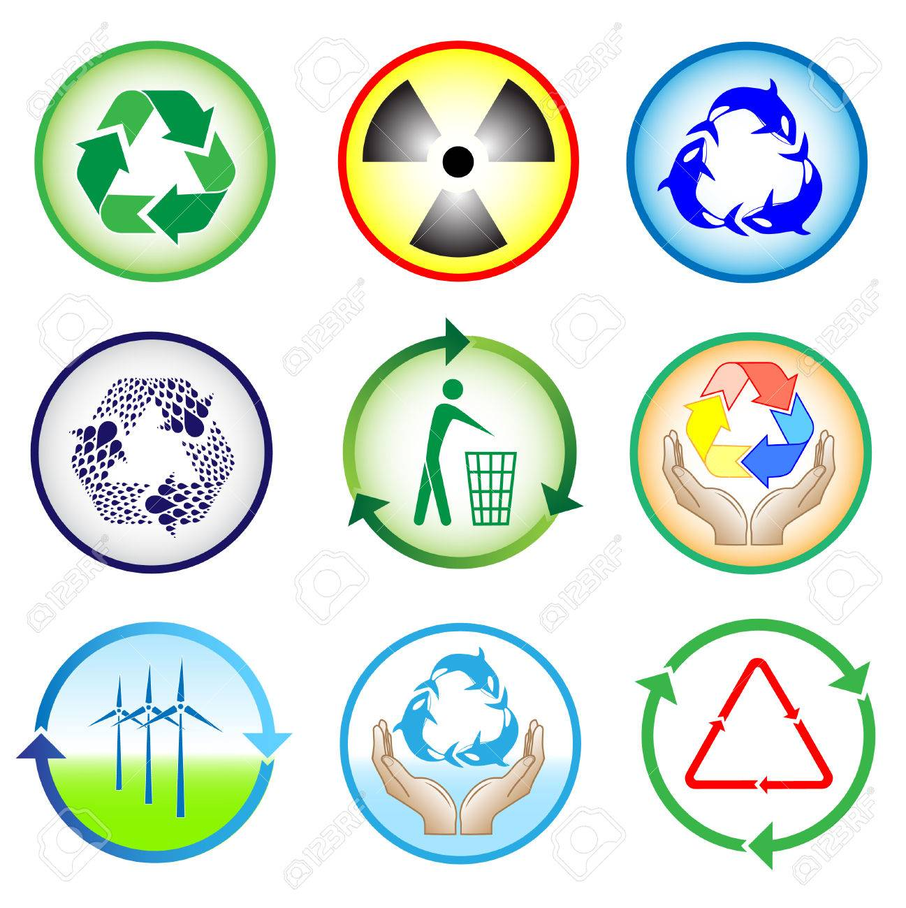 Vector recycle icons. Color set. Simply change. Stock Vector - 4450246