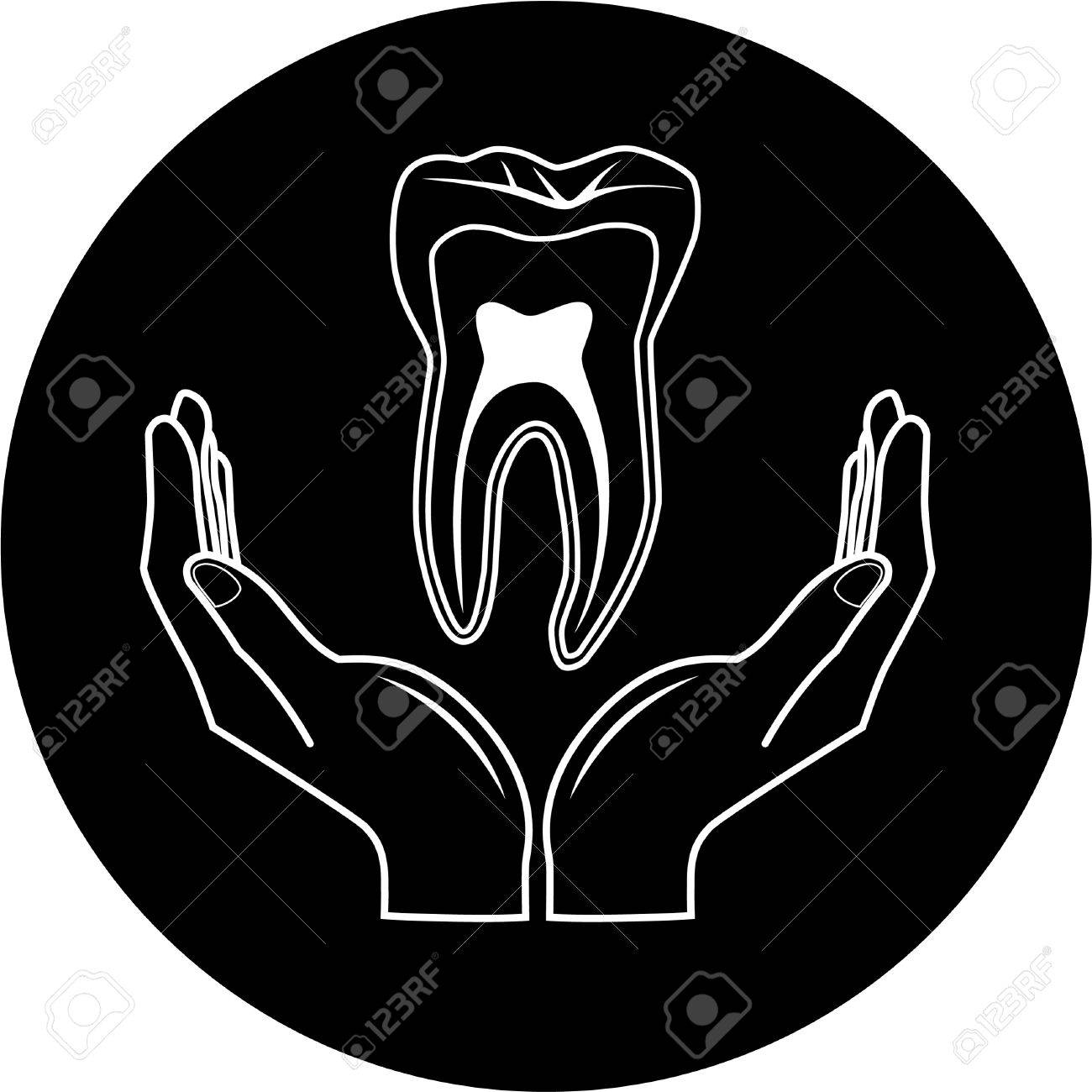 Vector medical icon. Protection of tooth. Black and white. Simply change. Stock Vector - 4483301