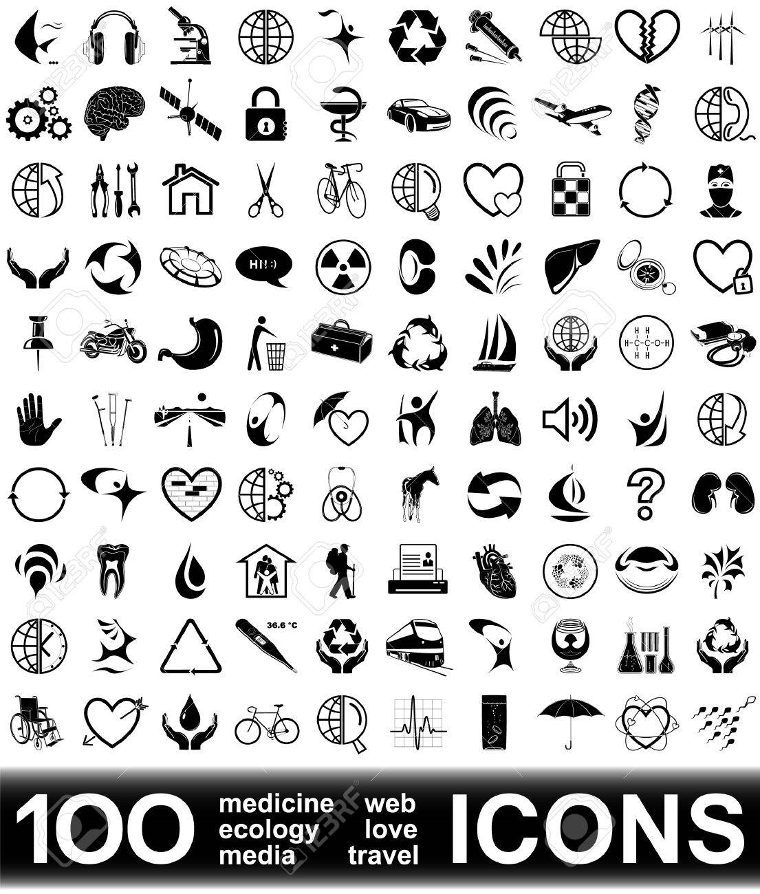 100 vector icons. HIGH RESOLUTION. Stock Vector - 4736370